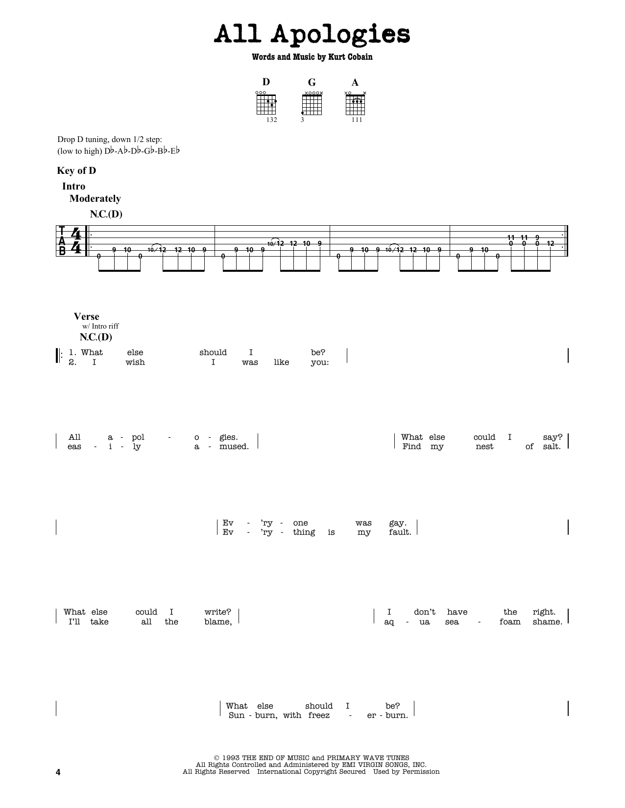 Nirvana All Apologies Sheet Music Notes Chords Printable Pop