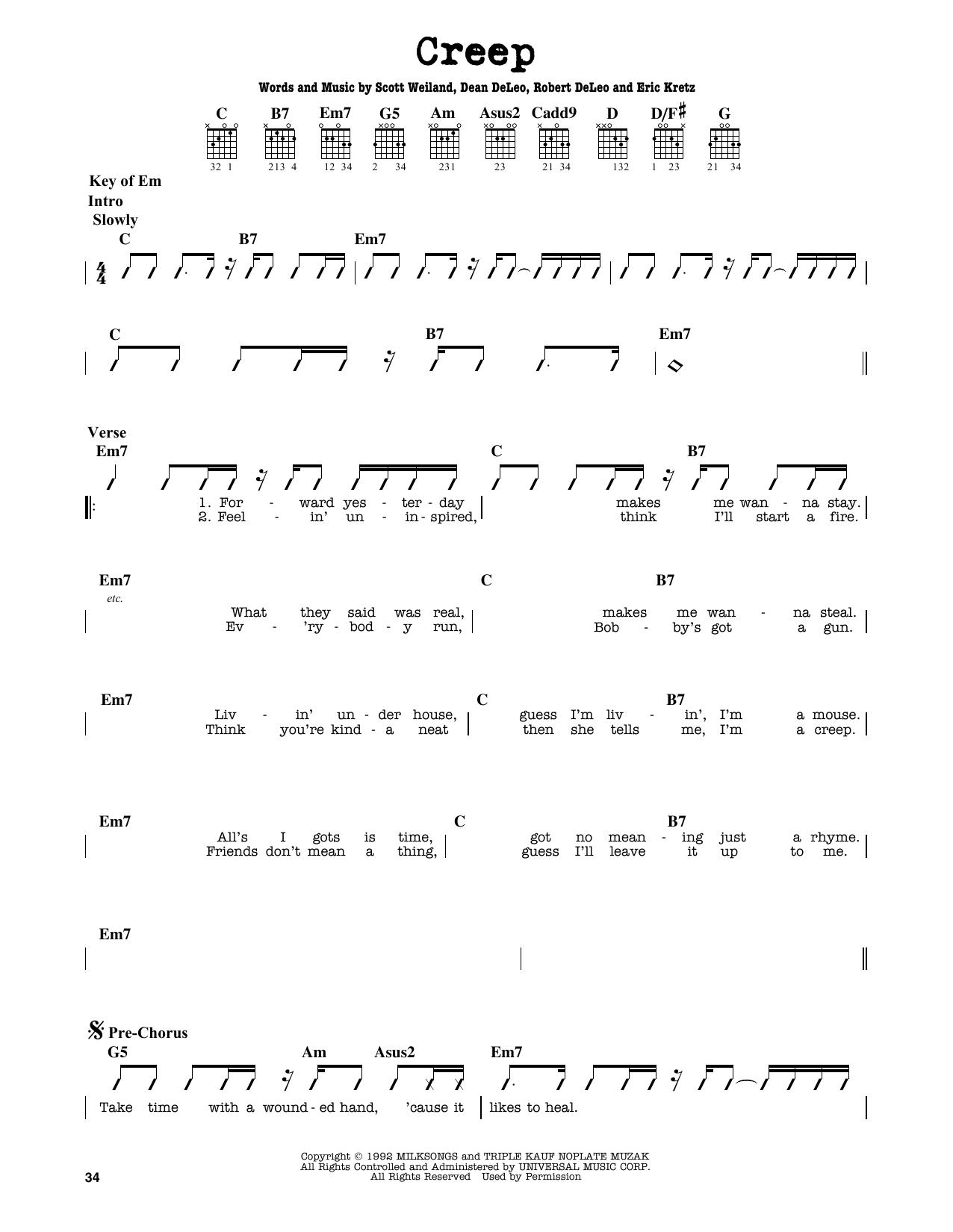 Stone Temple Pilots Creep Sheet Music Notes Chords Printable