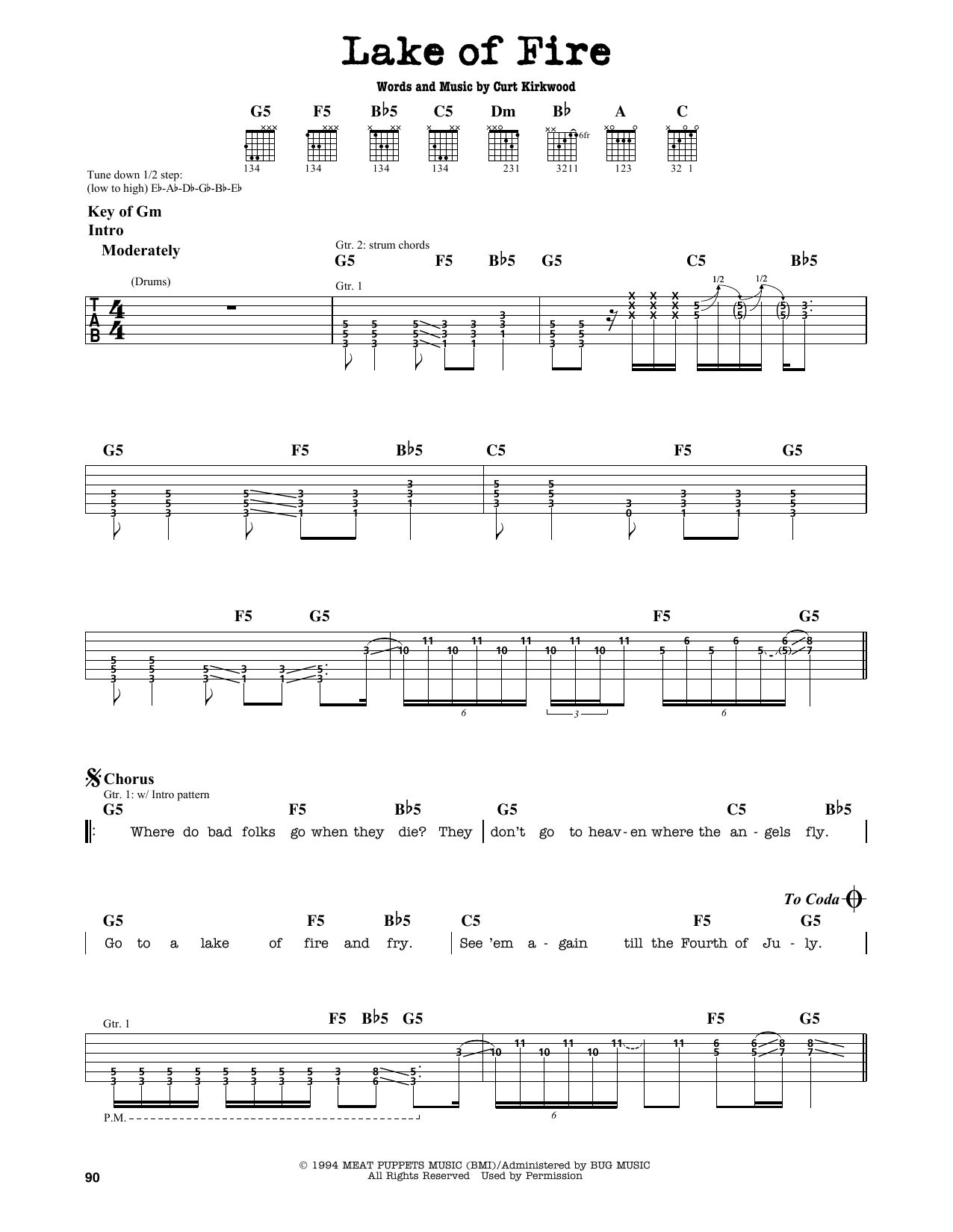 Nirvana Lake Of Fire Sheet Music Notes Chords Printable Pop