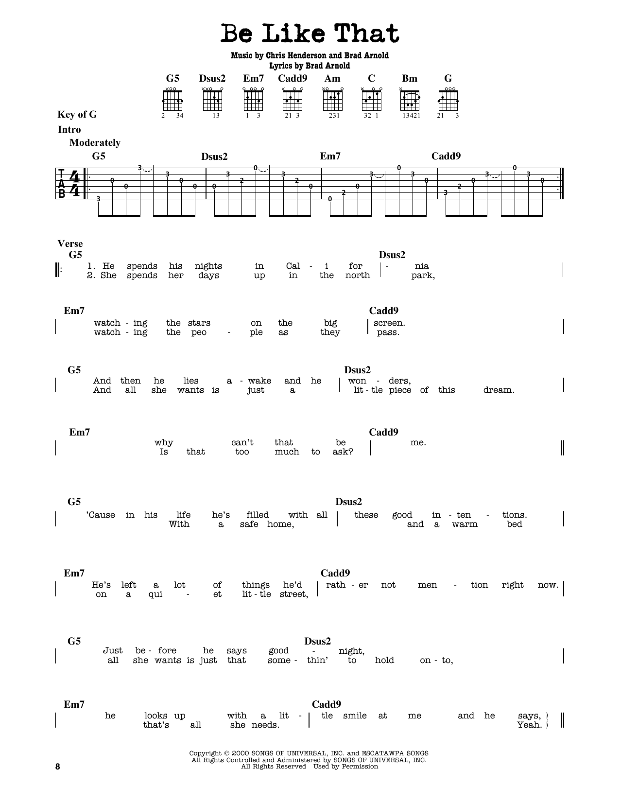 3 Doors Down Be Like That Sheet Music Notes Chords Printable