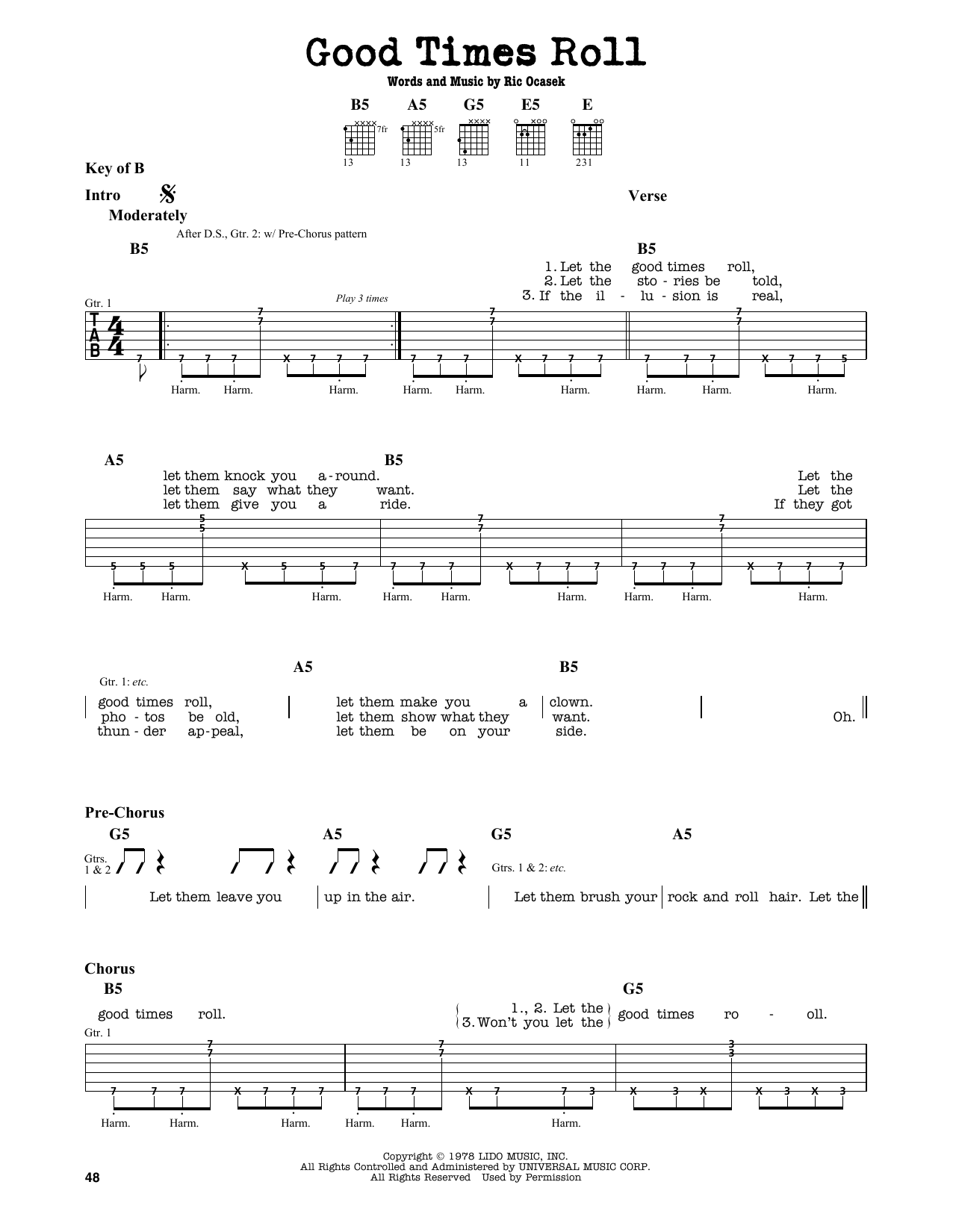 The Cars Good Times Roll Sheet Music Notes Chords Printable