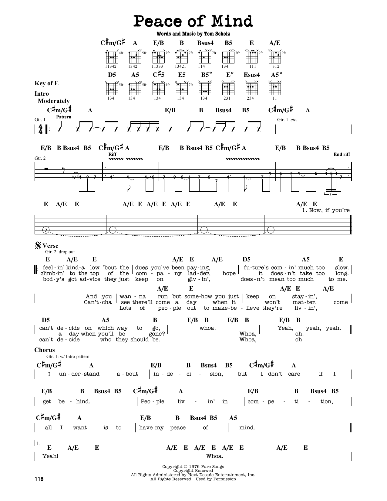 Boston Peace Of Mind Sheet Music Notes Chords Printable Rock