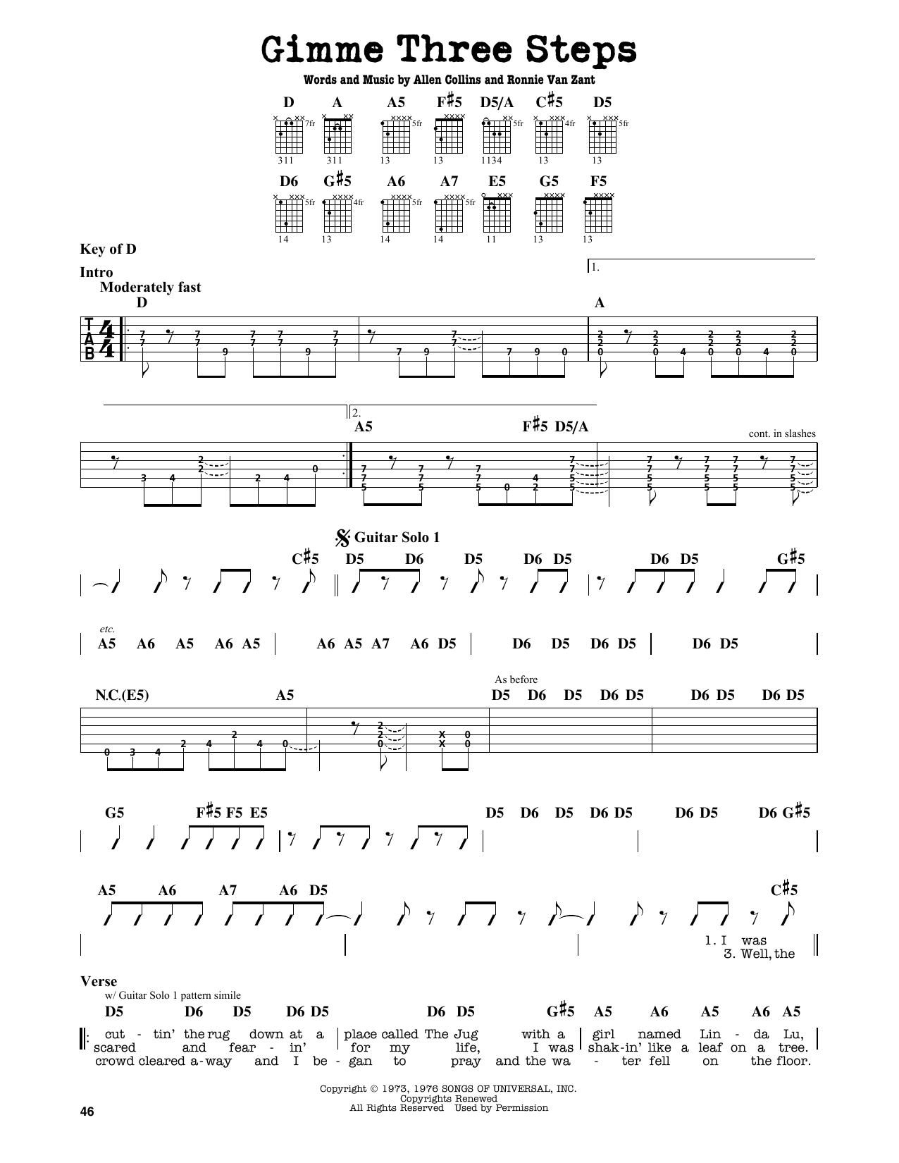 Lynyrd Skynyrd Gimme Three Steps Sheet Music Notes Chords
