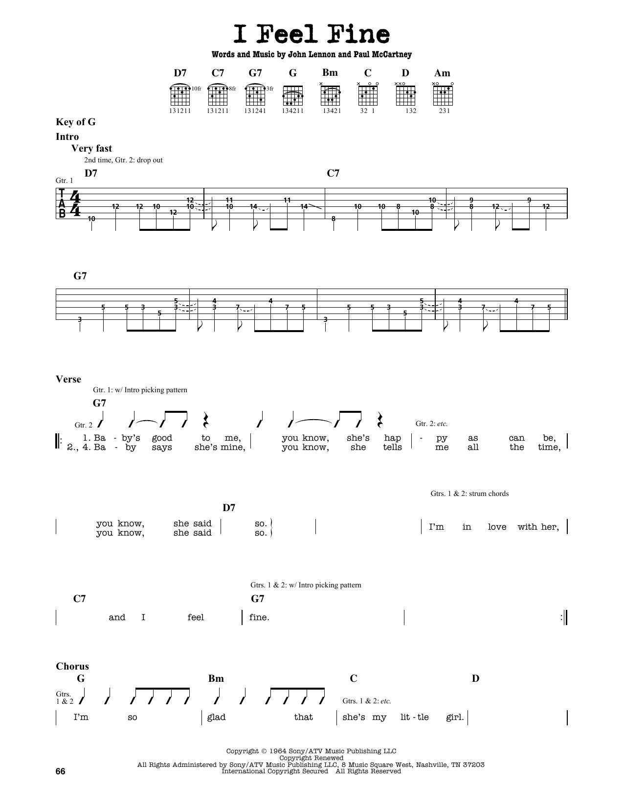 The Beatles I Feel Fine Sheet Music Notes Chords Printable Rock