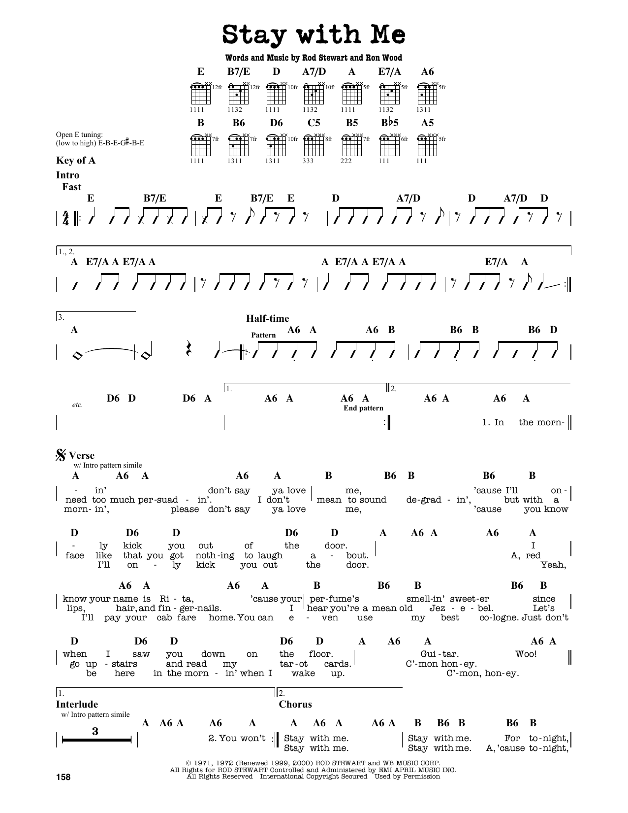 Rod Stewart Stay With Me Sheet Music Notes Chords Printable