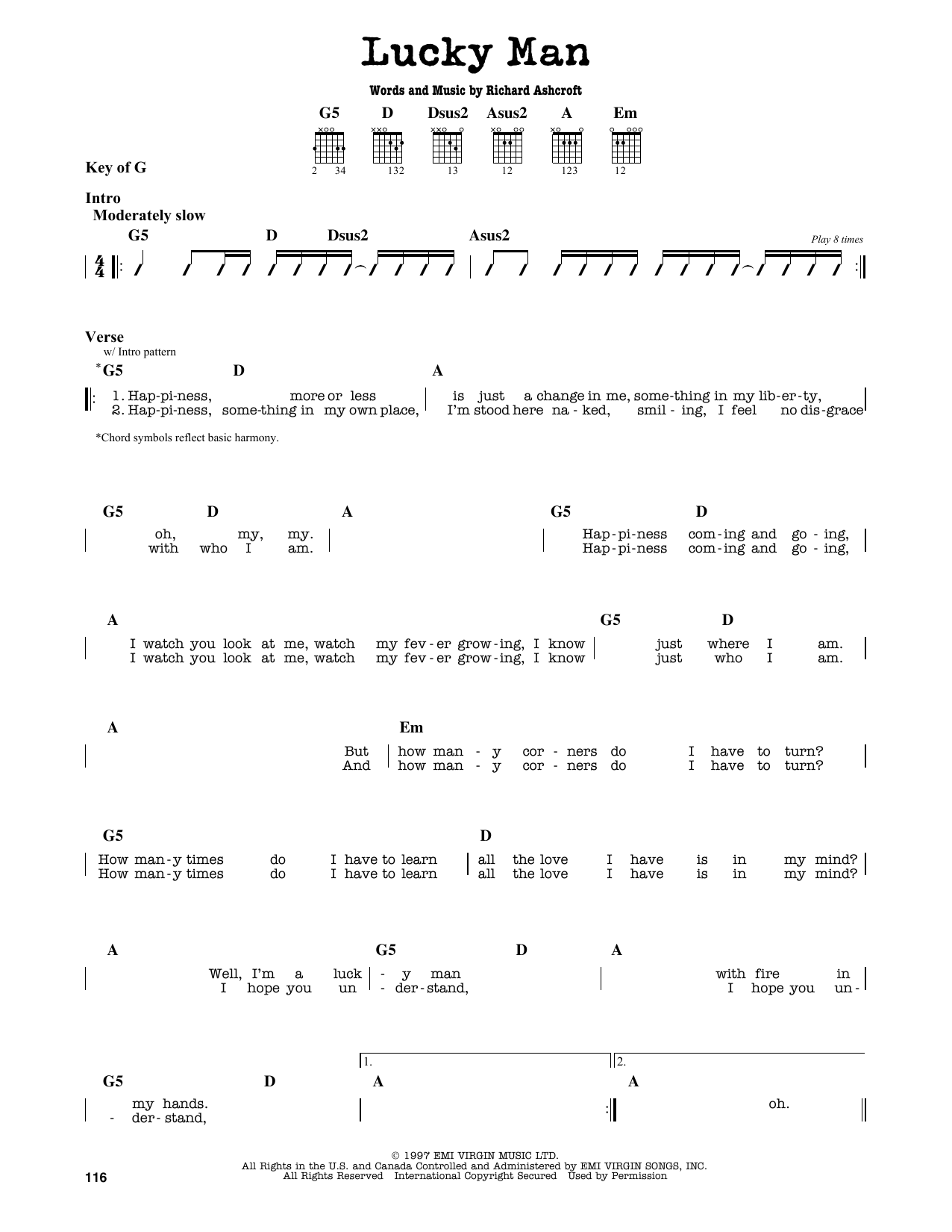 The Verve Lucky Man Sheet Music Notes Chords Printable Pop