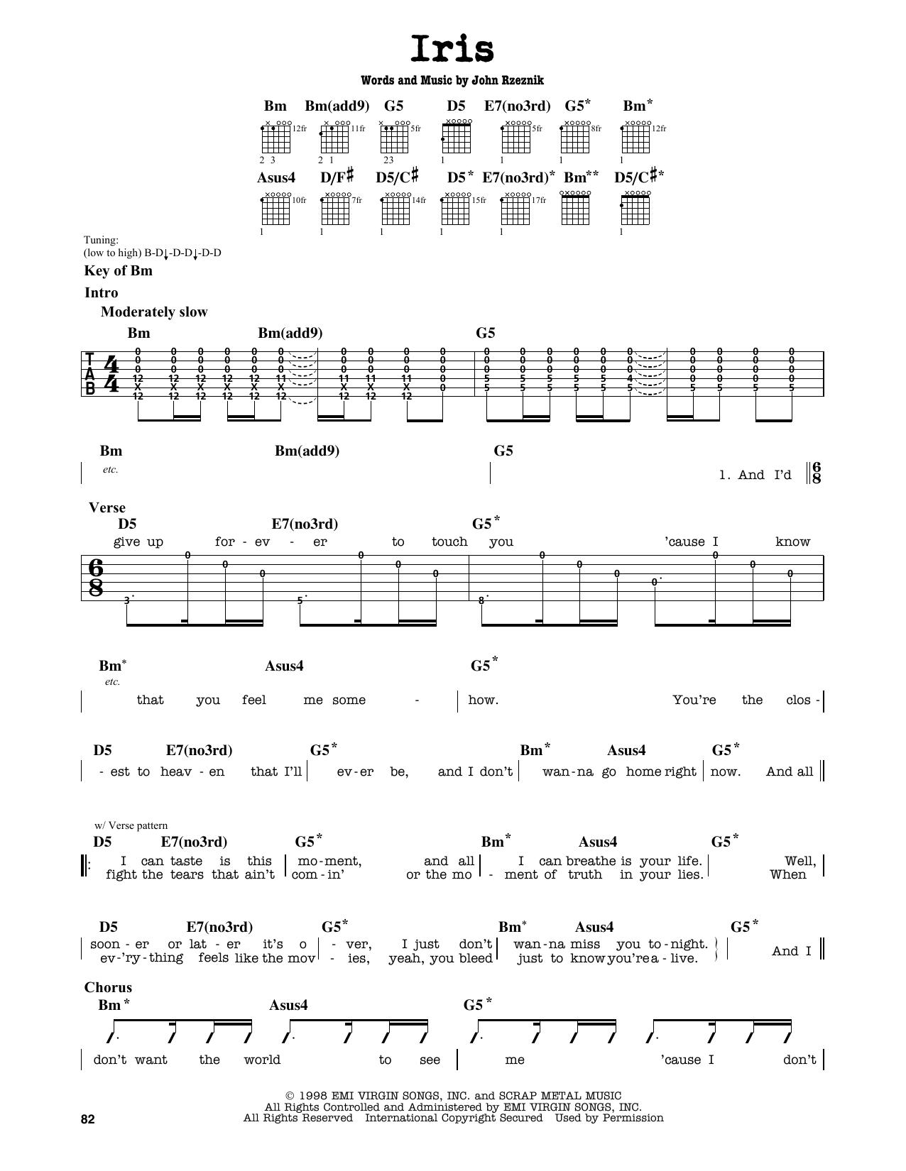 Goo Goo Dolls Iris Sheet Music Notes Chords Printable Rock