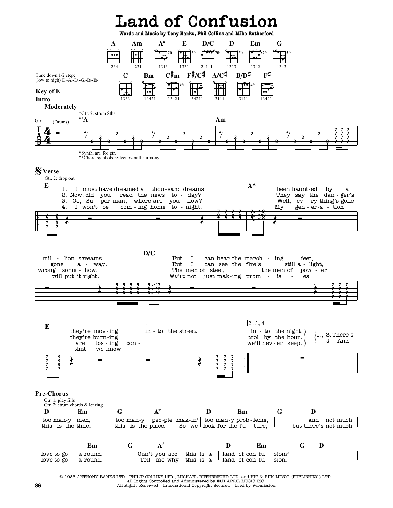 Genesis Land Of Confusion Sheet Music Notes Chords Printable
