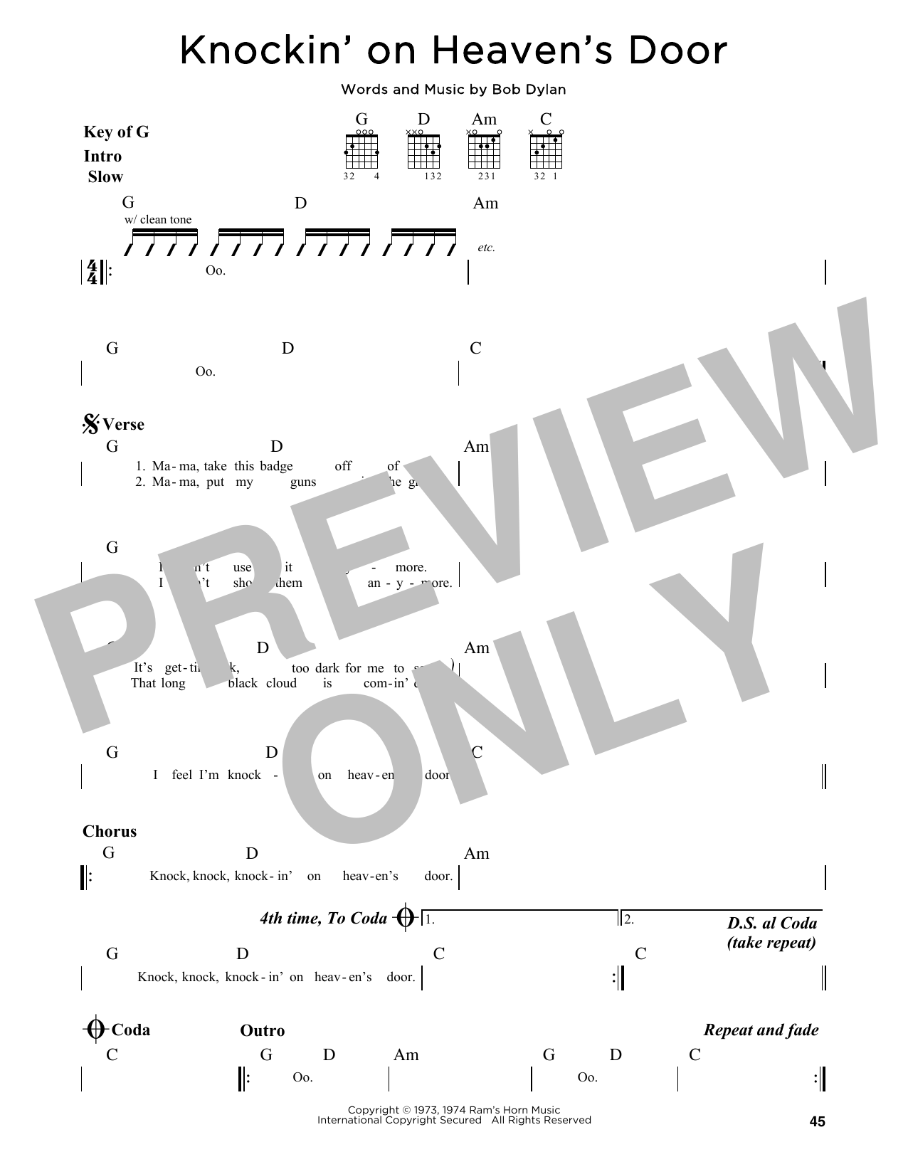 Bob Dylan Knockin On Heavens Door Sheet Music Notes Chords