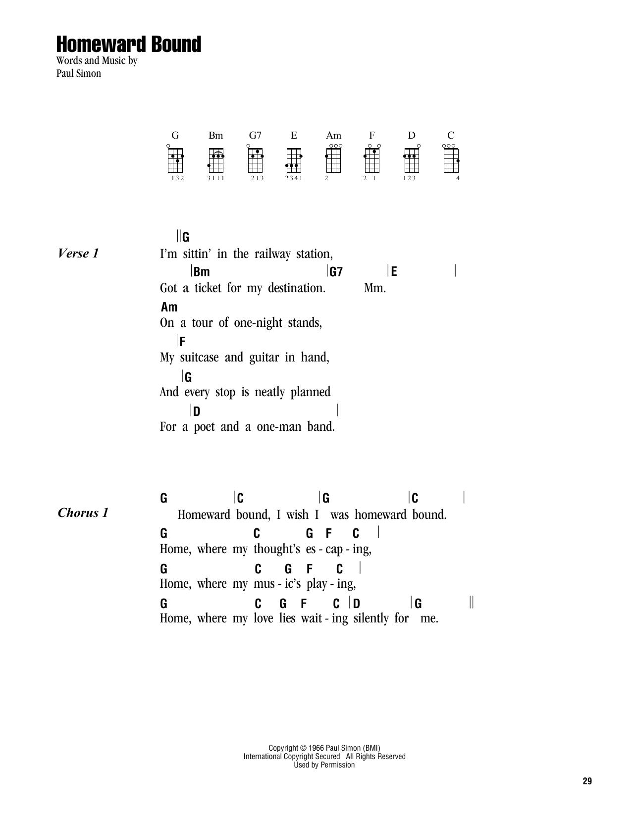 Simon Garfunkel Homeward Bound Sheet Music Notes Chords