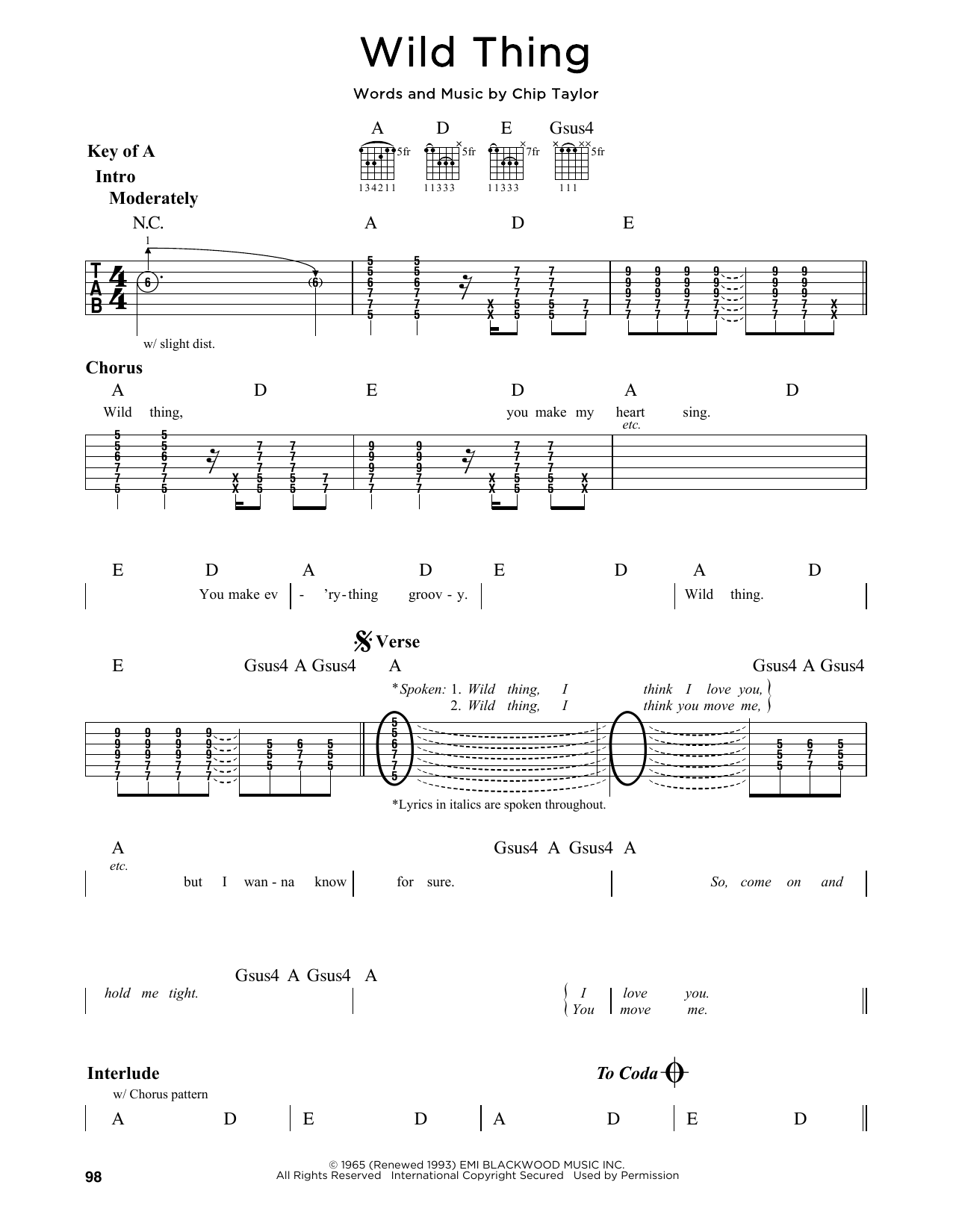 The Troggs Wild Thing Sheet Music Notes Chords Printable Rock