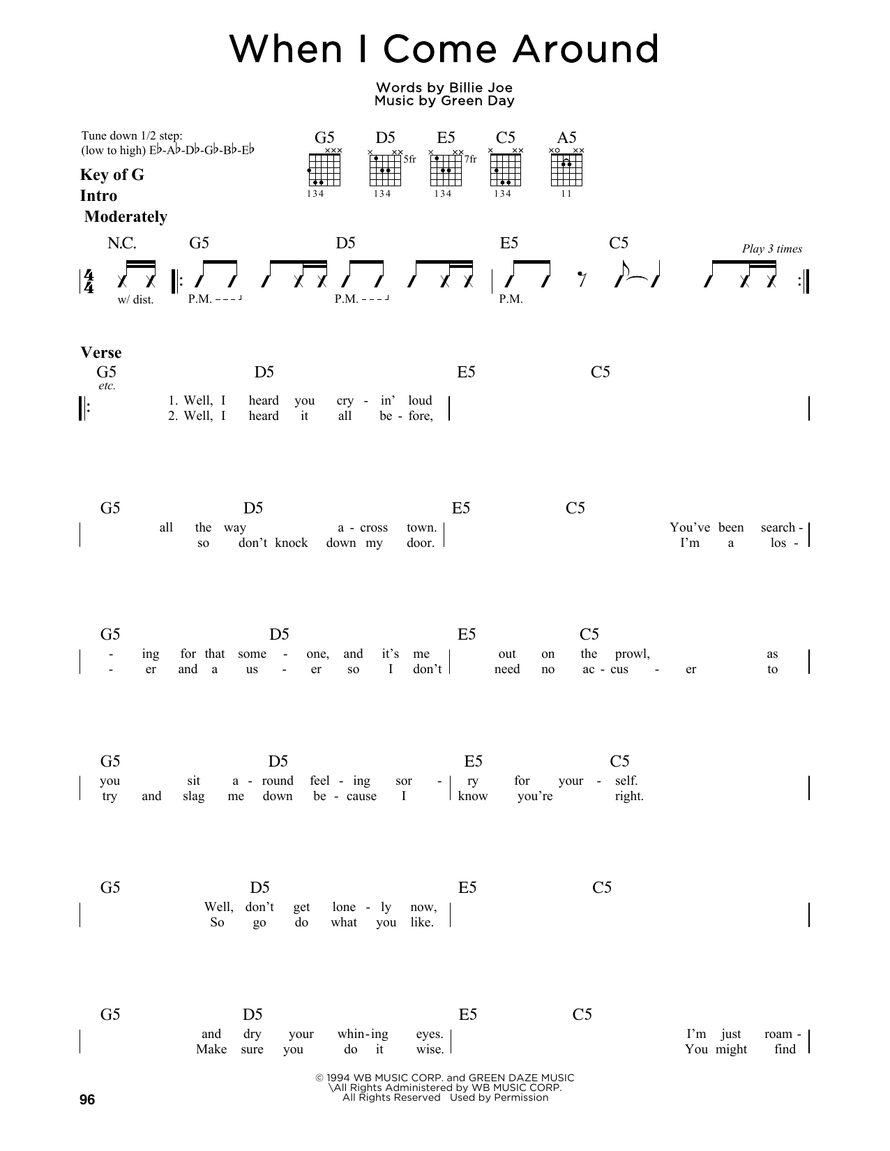 Green Day When I Come Around Sheet Music Notes Chords Printable