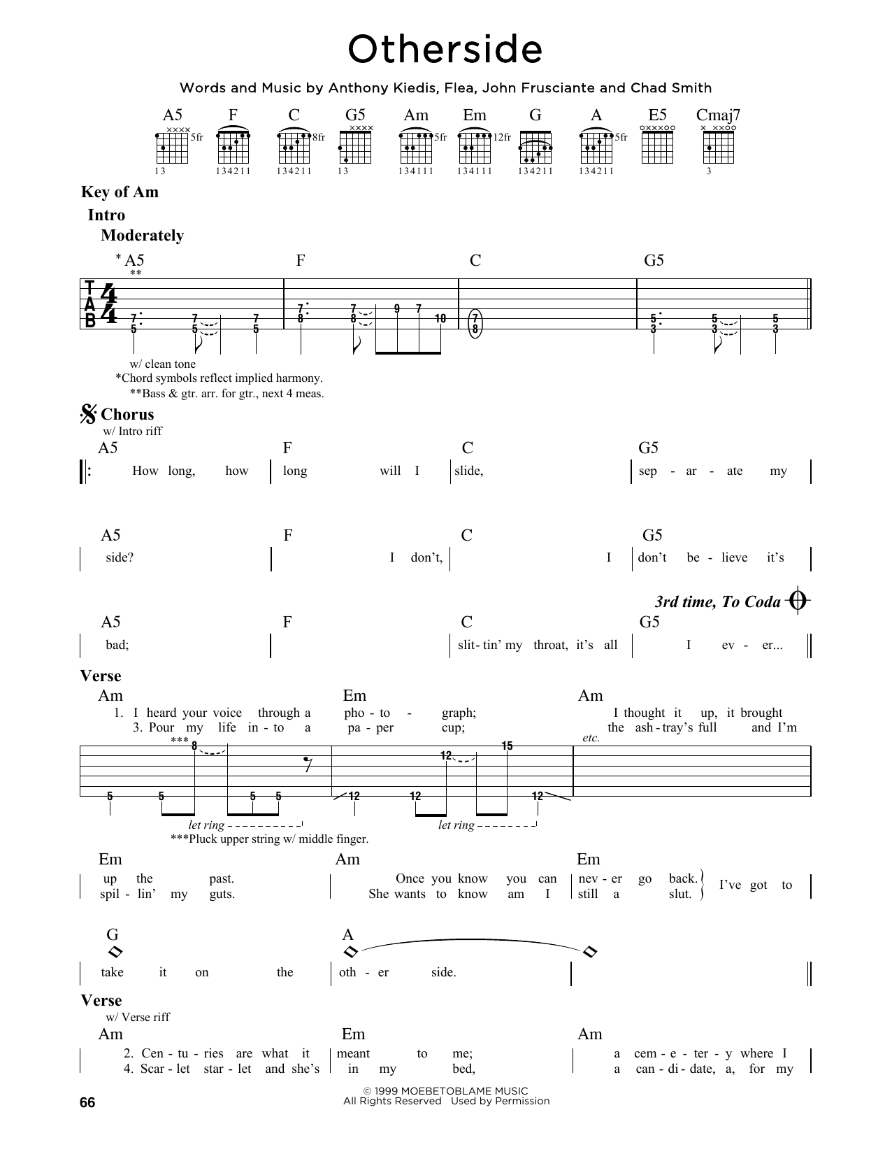 Red Hot Chili Peppers Otherside Sheet Music Notes Chords