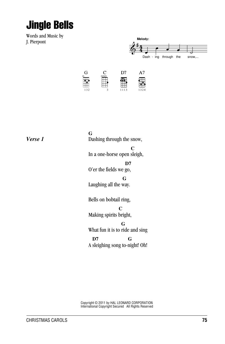 J Pierpont Jingle Bells Sheet Music Notes Chords Printable