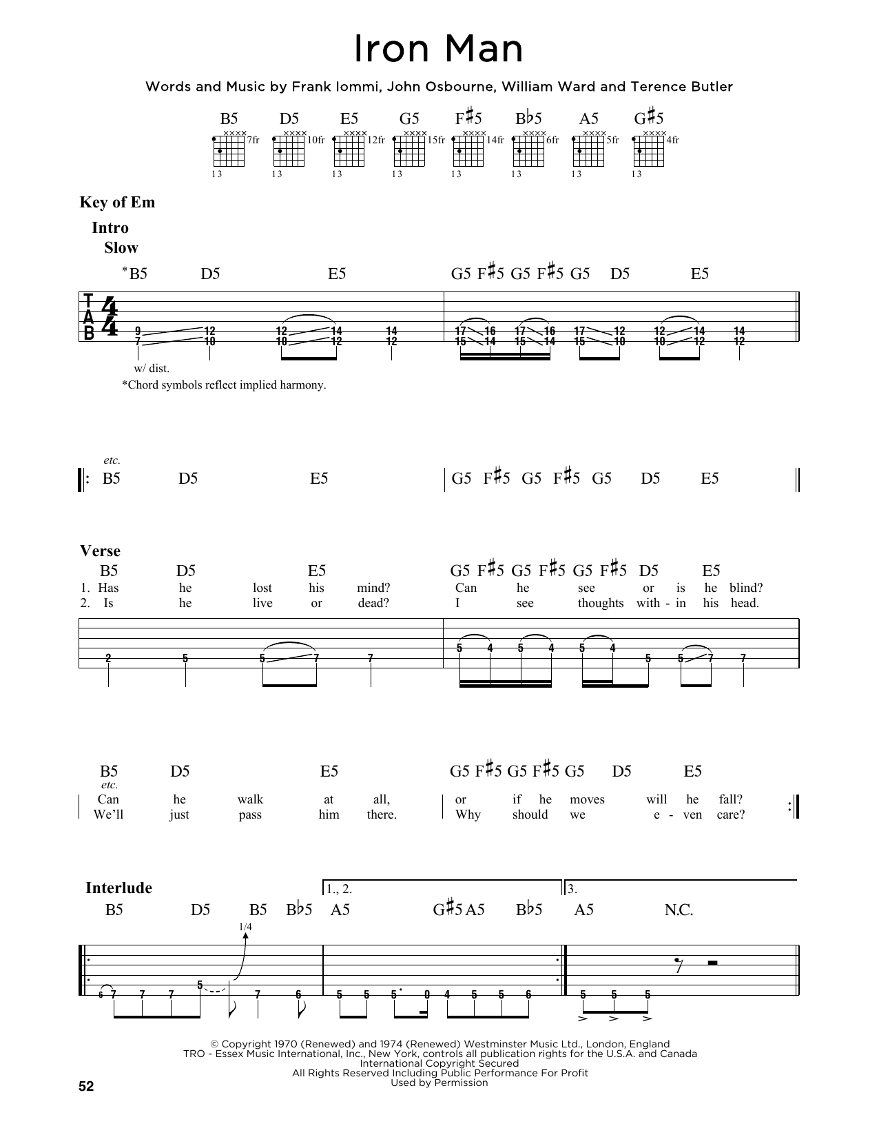 Black Sabbath Iron Man Sheet Music Notes Chords Printable Pop