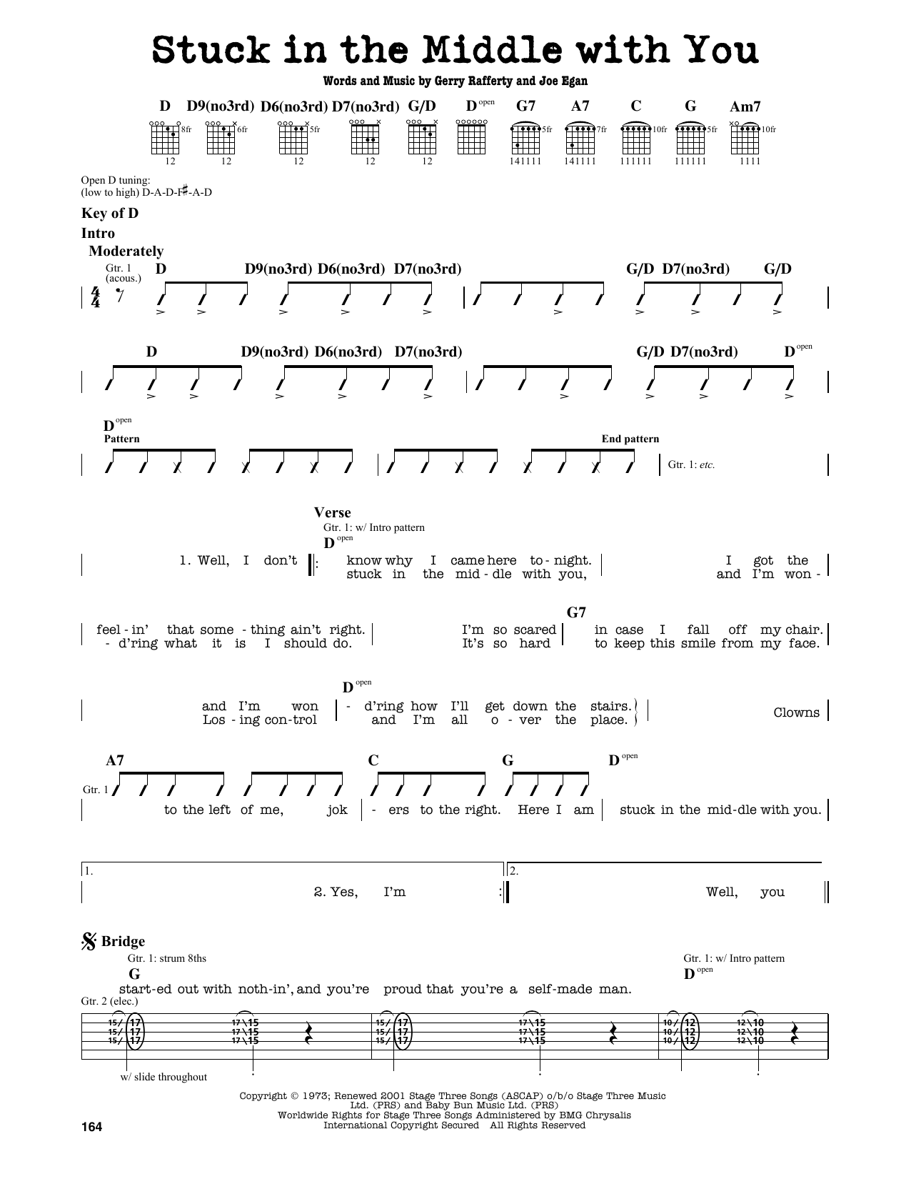 Stealers Wheel Stuck In The Middle With You Sheet Music Notes