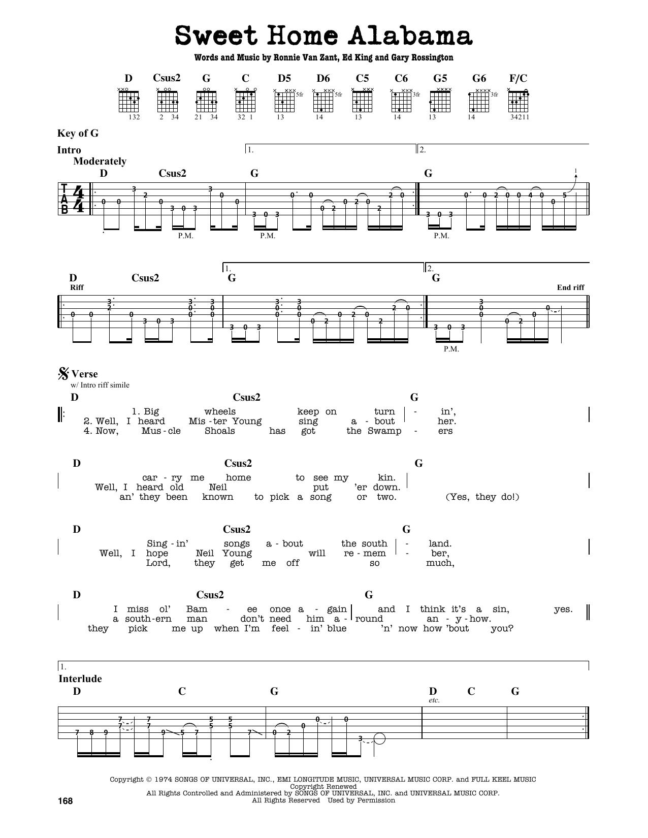 Lynyrd Skynyrd Sweet Home Alabama Sheet Music Notes Chords