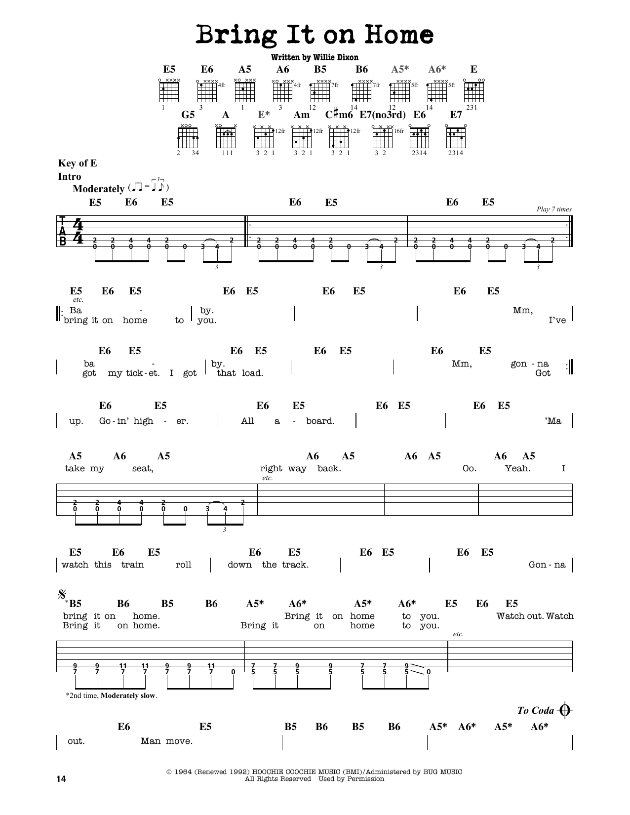 Sonny Boy Williamson Bring It On Home Sheet Music Notes Chords