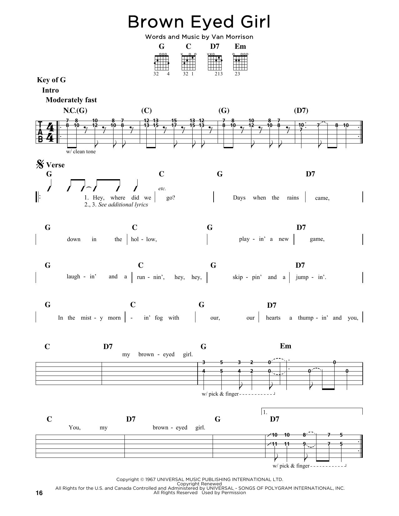 Van Morrison Brown Eyed Girl Sheet Music Notes Chords Printable