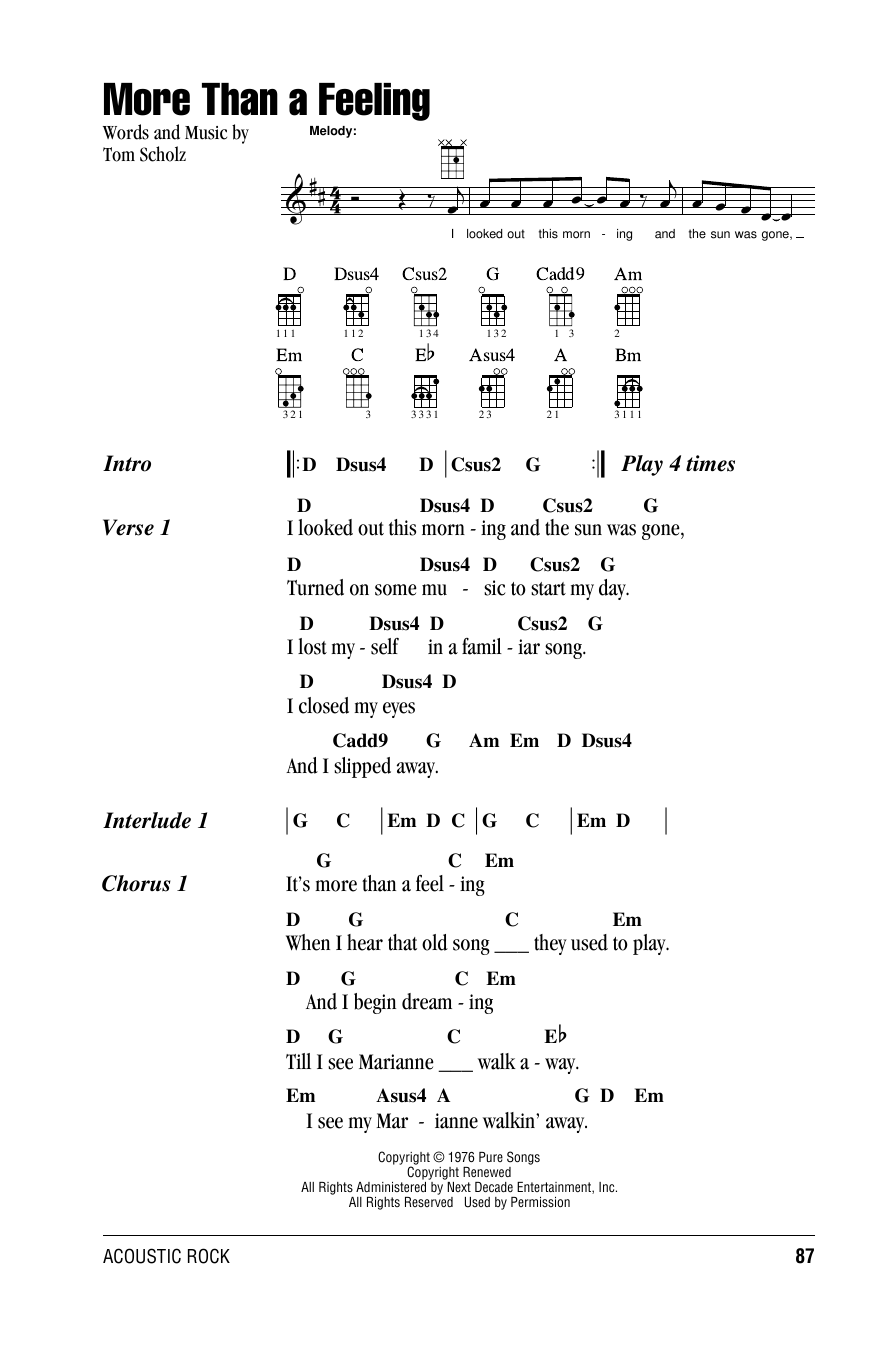 Boston More Than A Feeling Sheet Music Notes Chords Printable