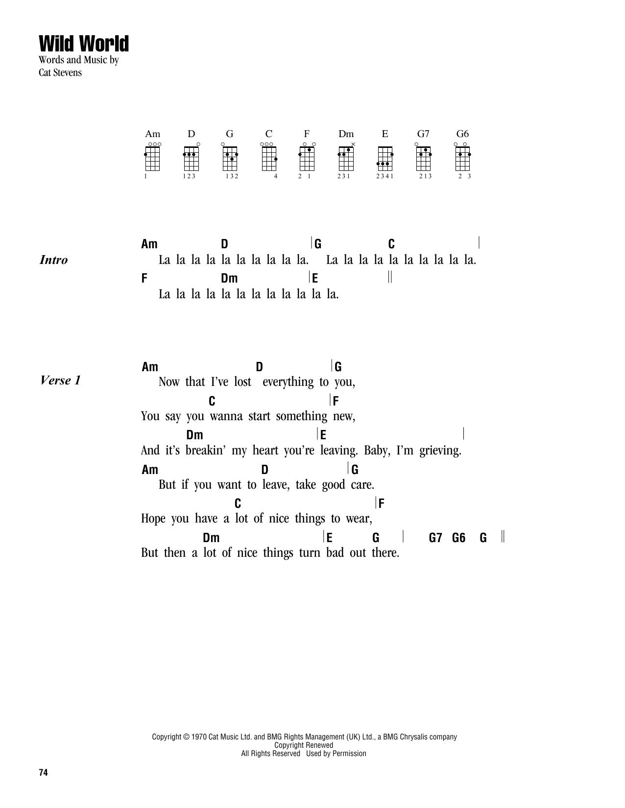 Cat Stevens Wild World Sheet Music Notes Chords Printable Pop