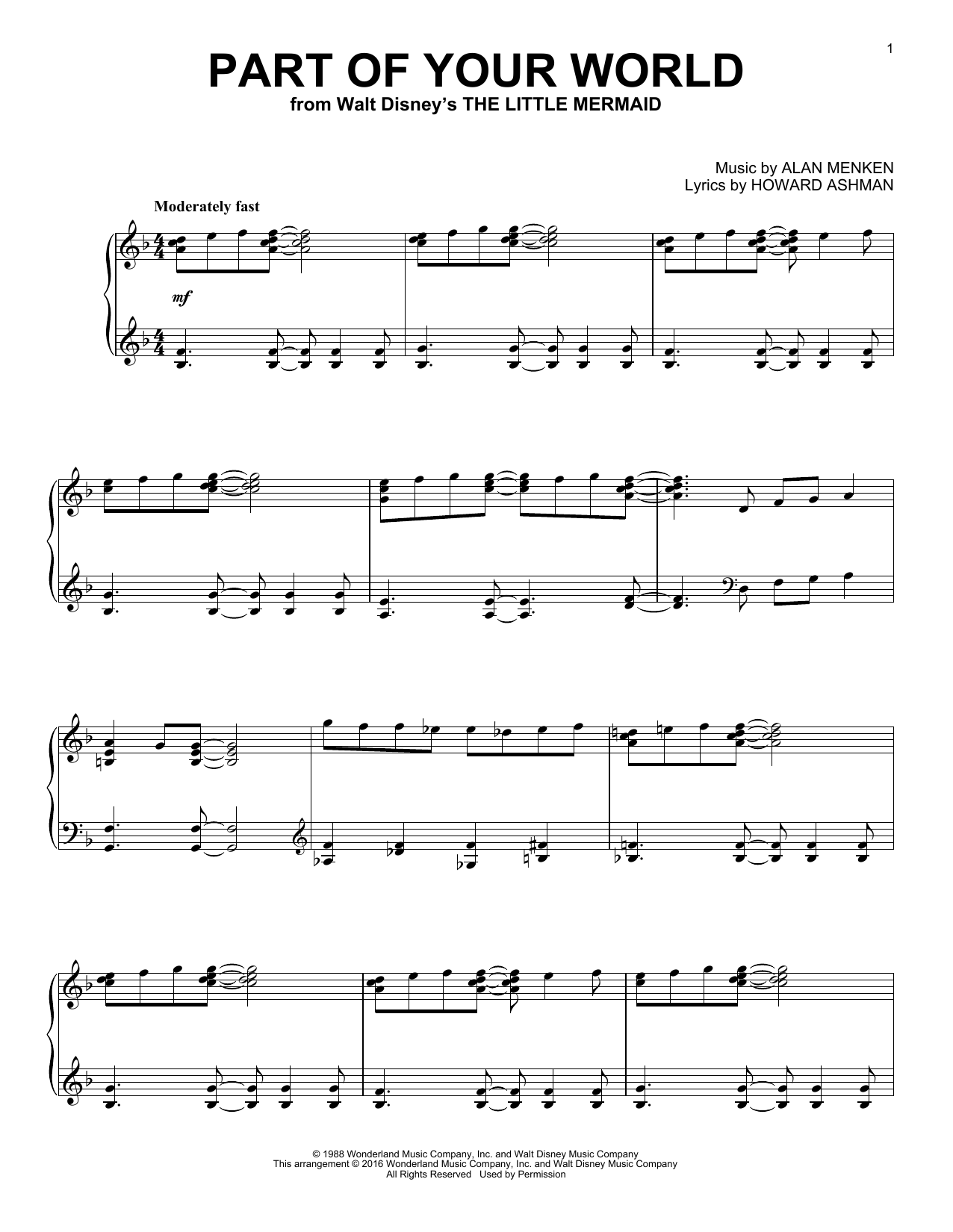 Alan Menken Part Of Your World Sheet Music Notes Chords