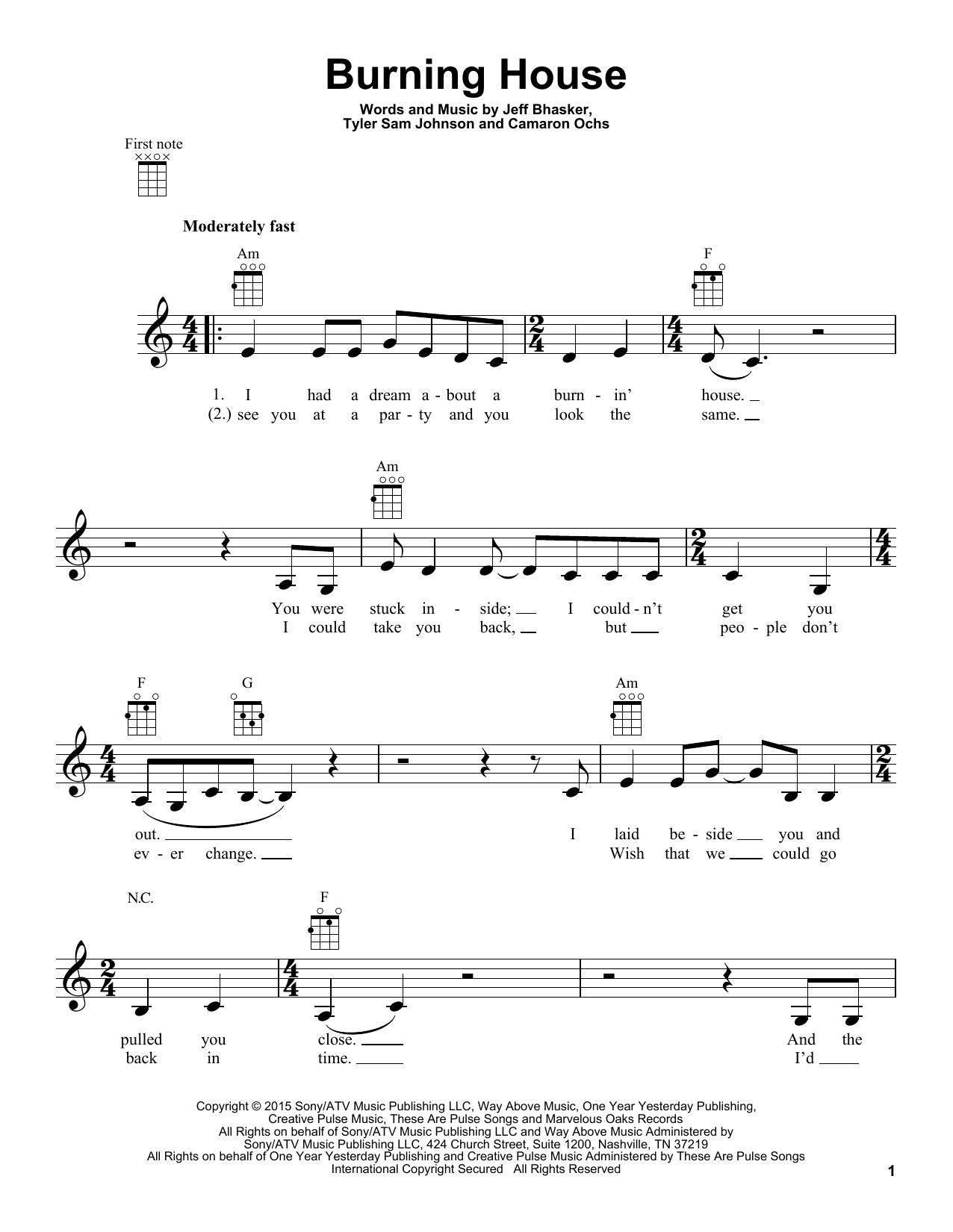 Cam Burning House Sheet Music Notes Chords Printable Pop