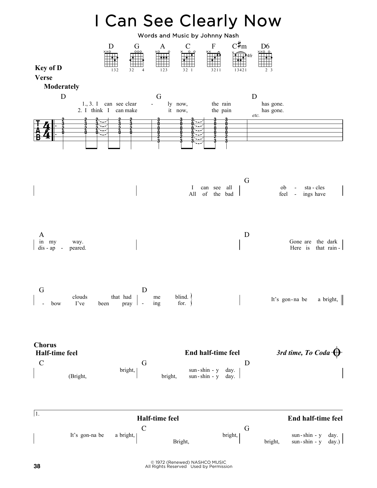 Jimmy Cliff I Can See Clearly Now Sheet Music Notes Chords
