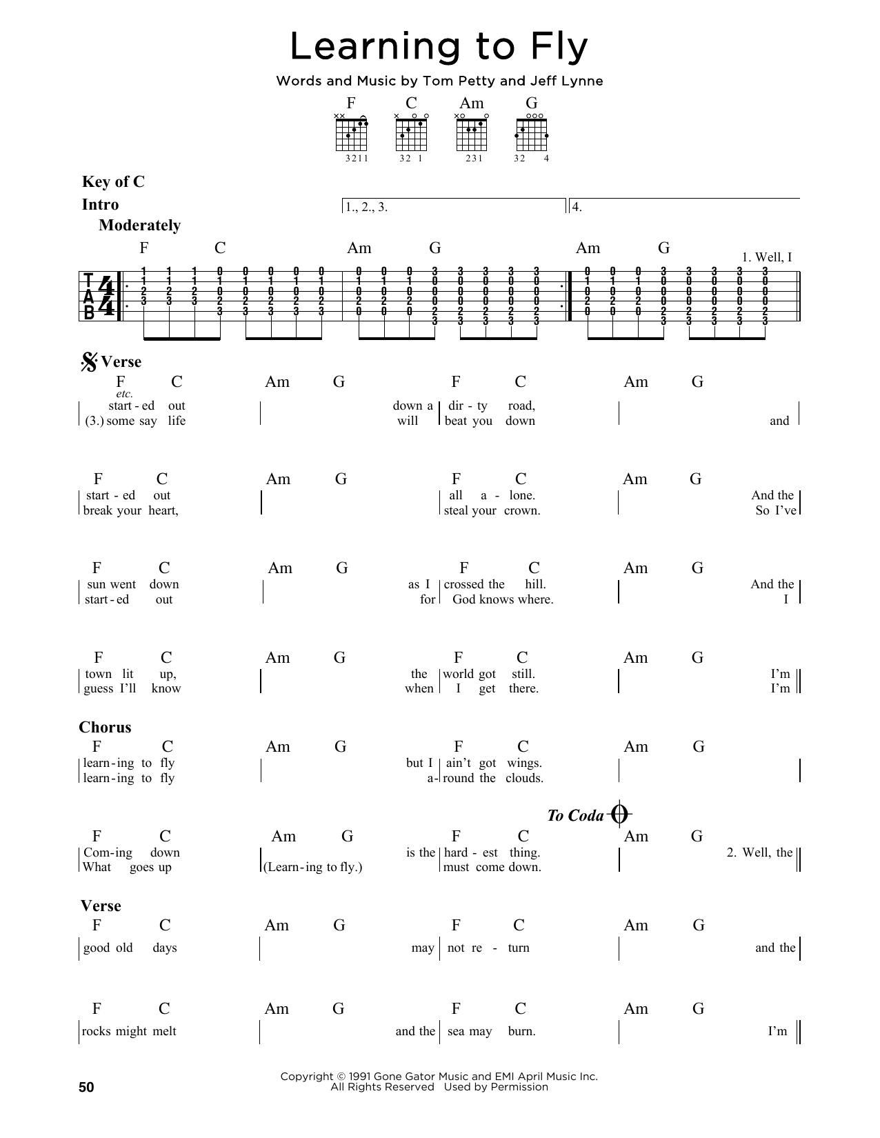 Tom Petty Learning To Fly Sheet Music Notes Chords Printable