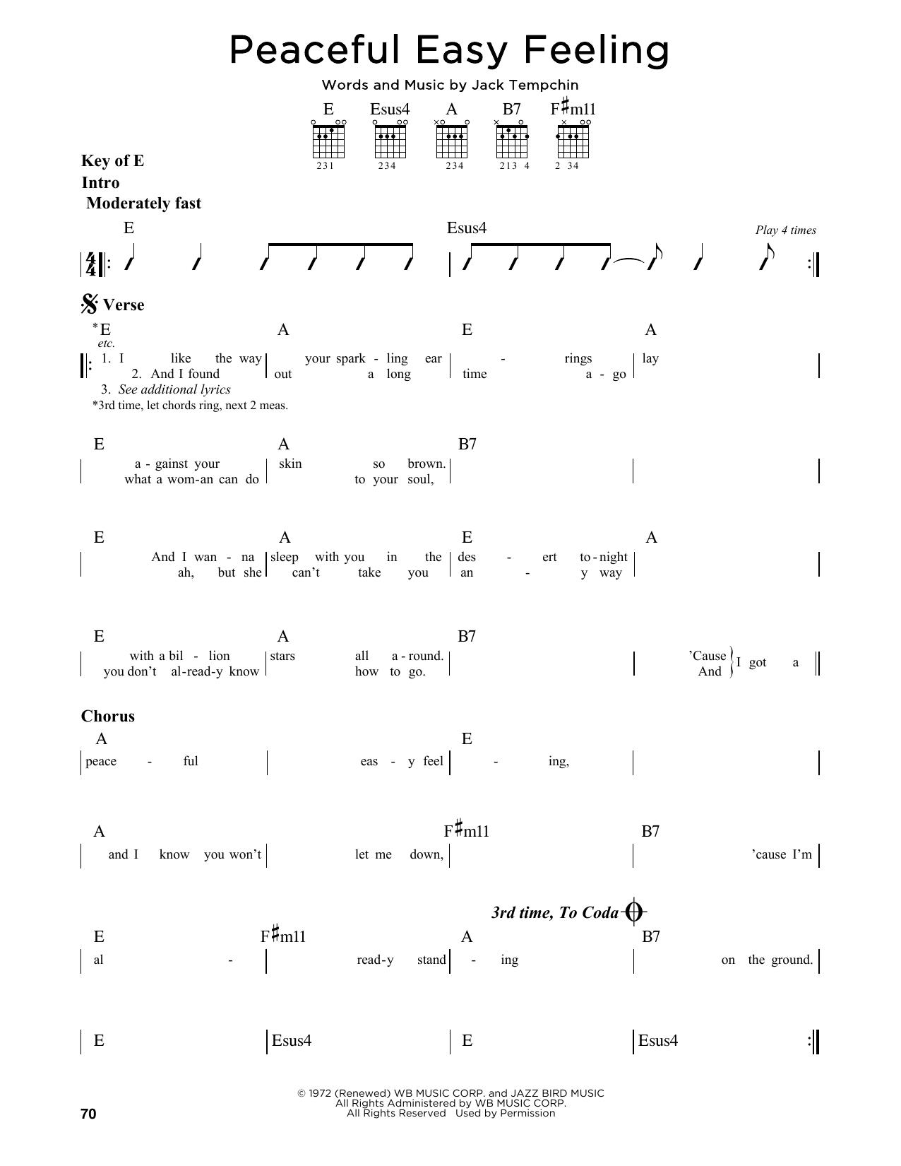 Eagles Peaceful Easy Feeling Sheet Music Notes Chords Printable