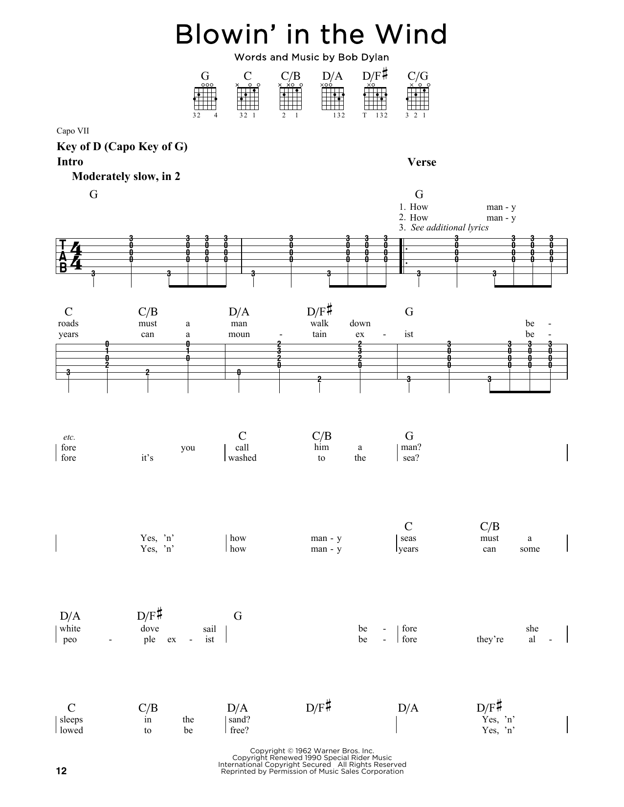 Bob Dylan Blowin In The Wind Sheet Music Notes Chords