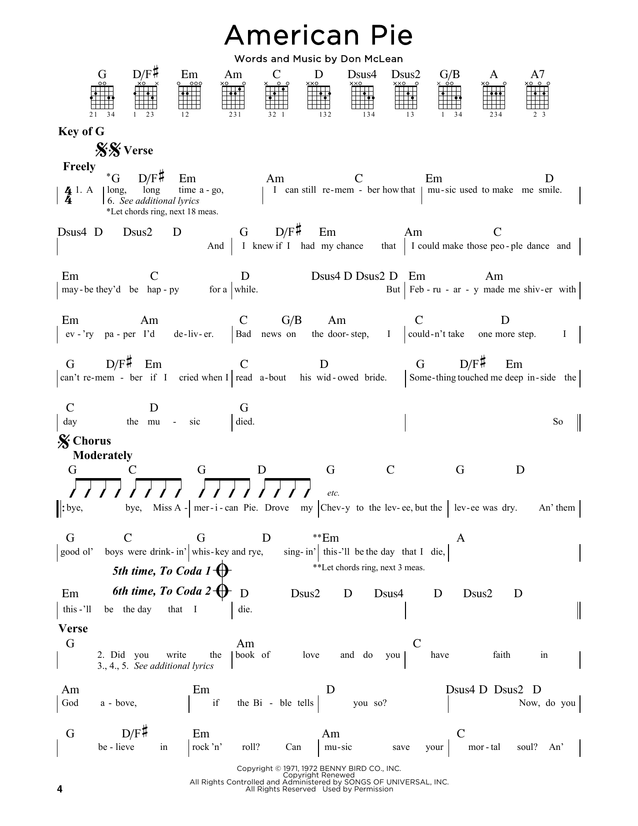 Don Mclean American Pie Sheet Music Notes Chords Printable Pop
