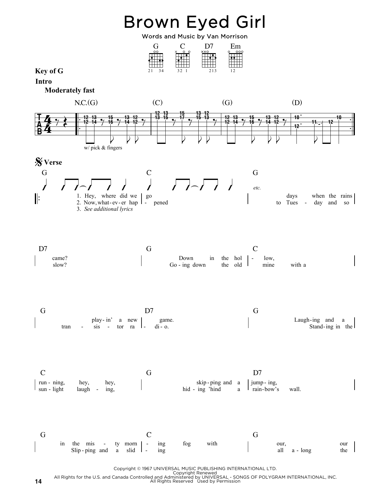 Van Morrison Brown Eyed Girl Sheet Music Notes Chords Printable