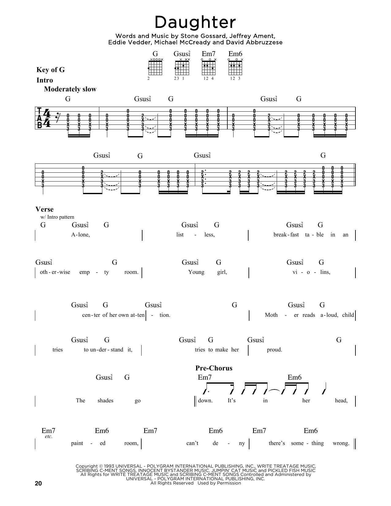 Pearl Jam Daughter Sheet Music Notes Chords Printable Rock
