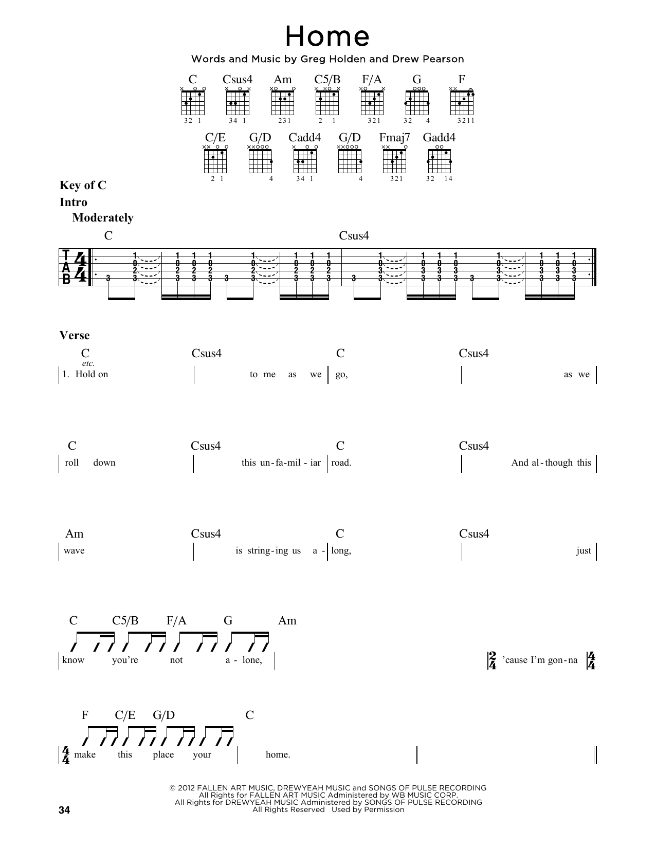Phillip Phillips Home Sheet Music Notes Chords Printable Rock