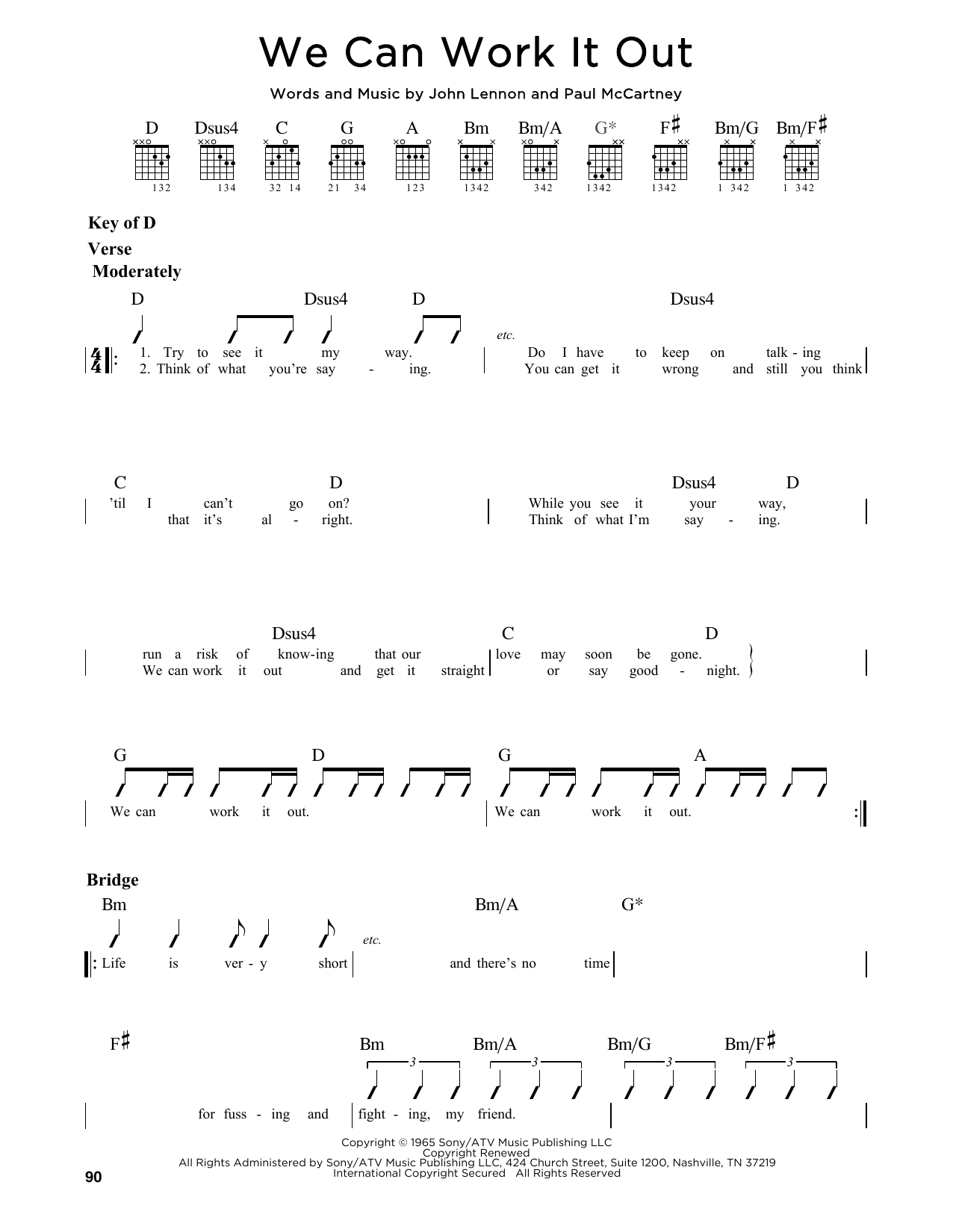 The Beatles We Can Work It Out Sheet Music Notes Chords