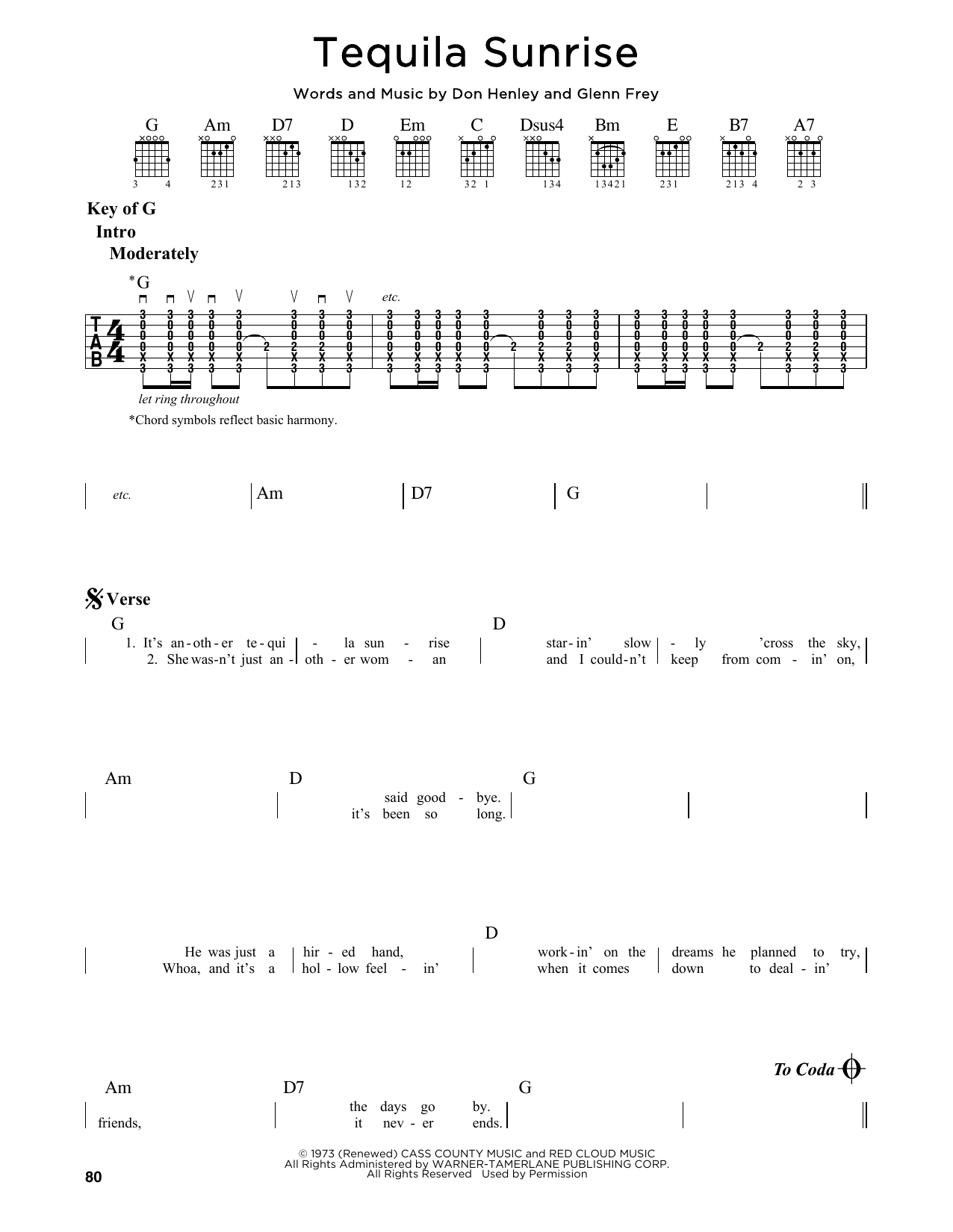 Eagles Tequila Sunrise Sheet Music Notes Chords Printable Rock