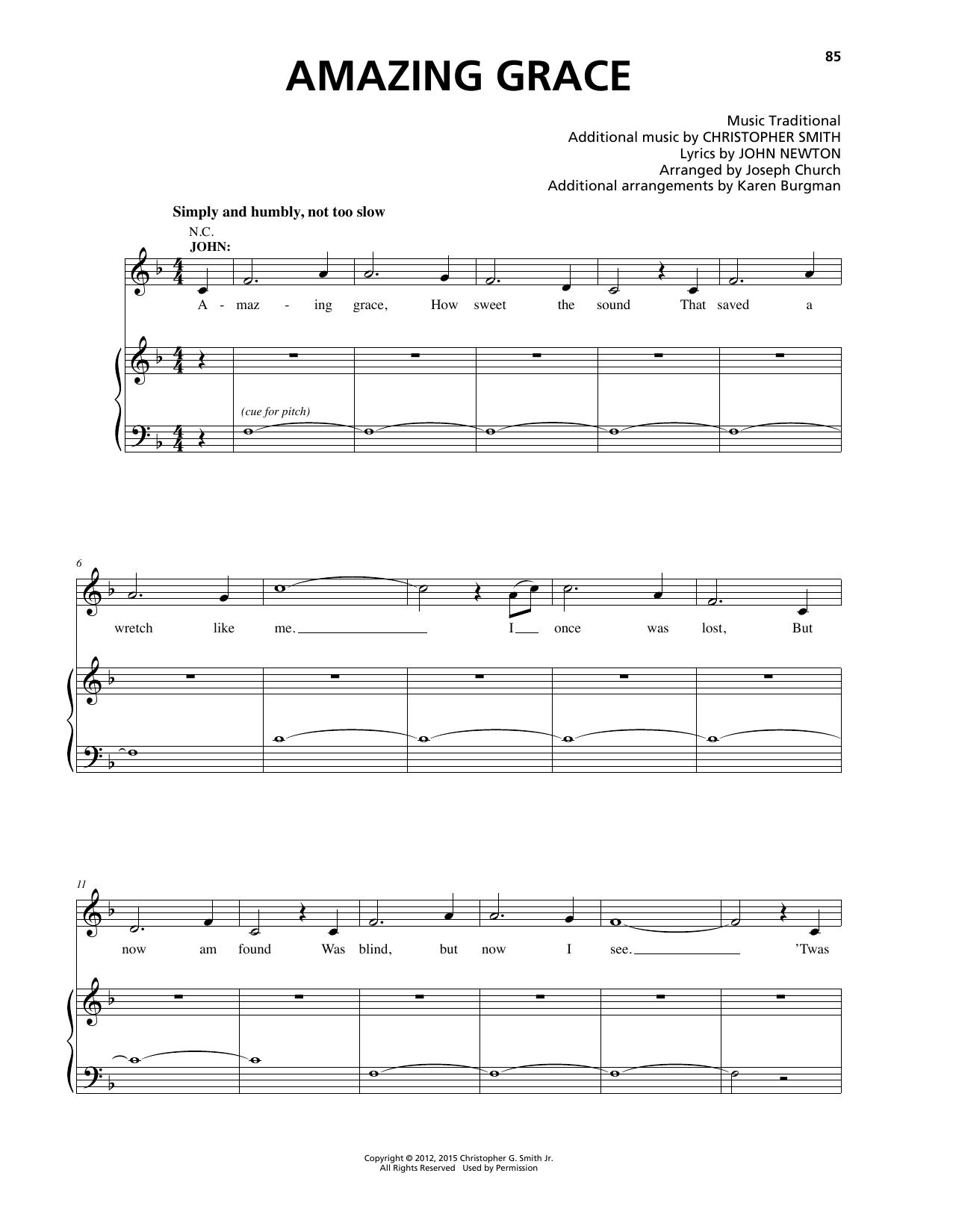 Christopher Smith Amazing Grace Sheet Music Notes Chords