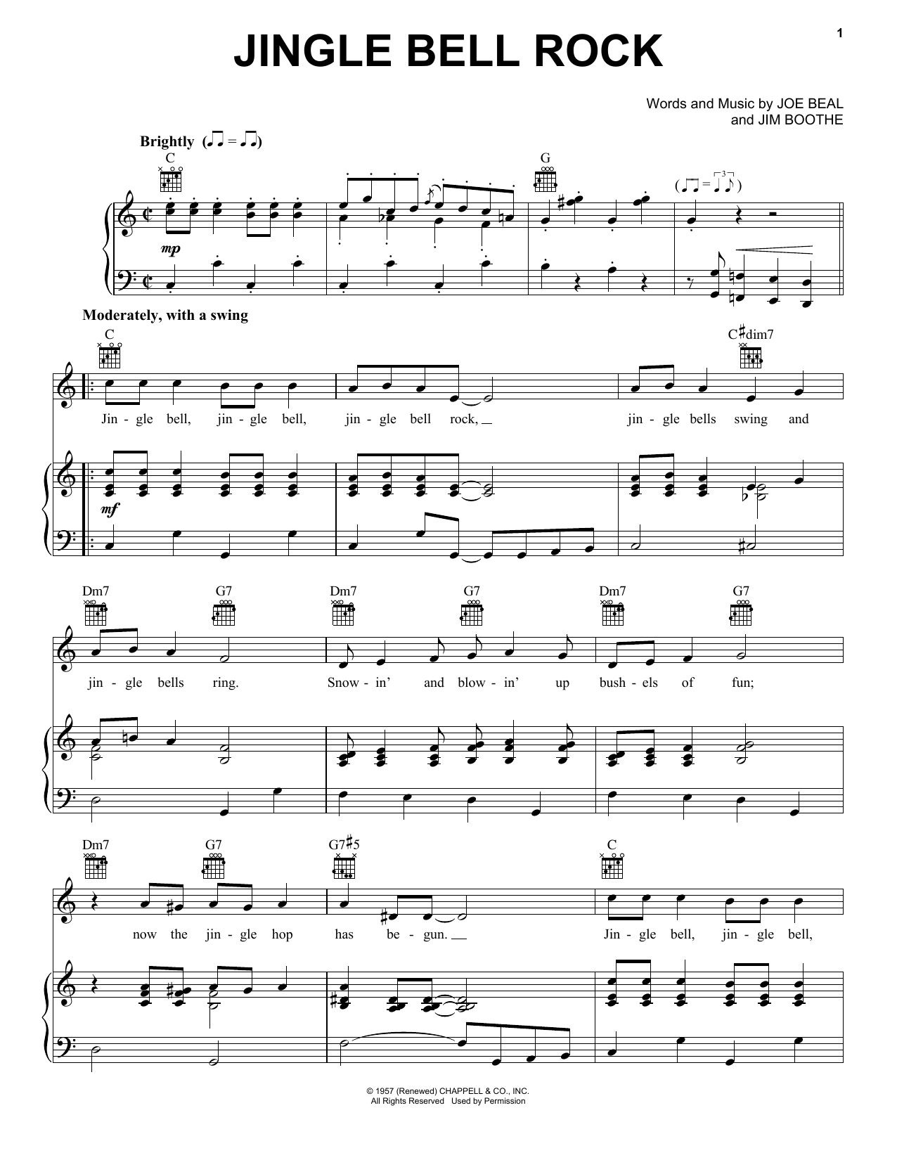 Bobby Helms Jingle Bell Rock Sheet Music Notes Chords Printable
