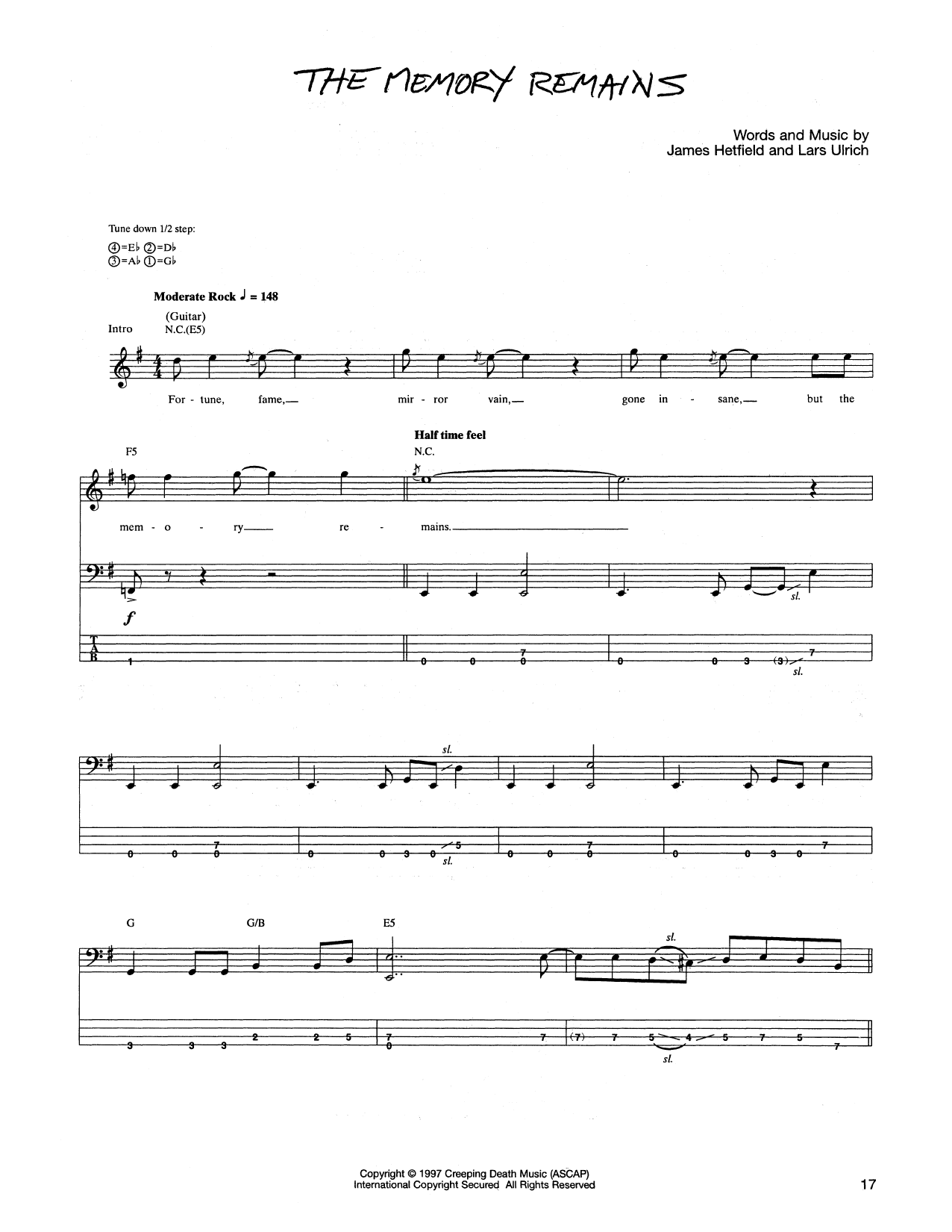 Metallica The Memory Remains Sheet Music Notes Chords Printable