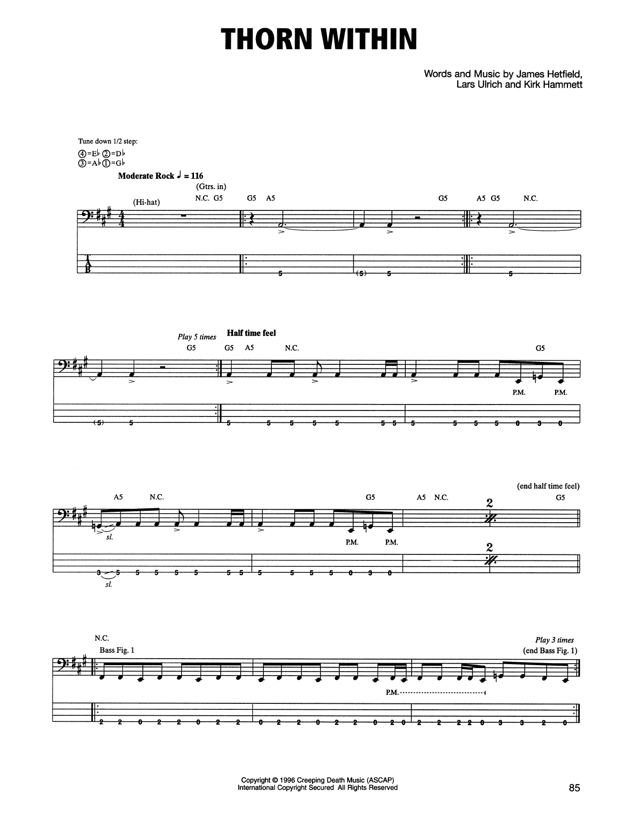 Metallica The Thorn Within Sheet Music Notes Chords Printable