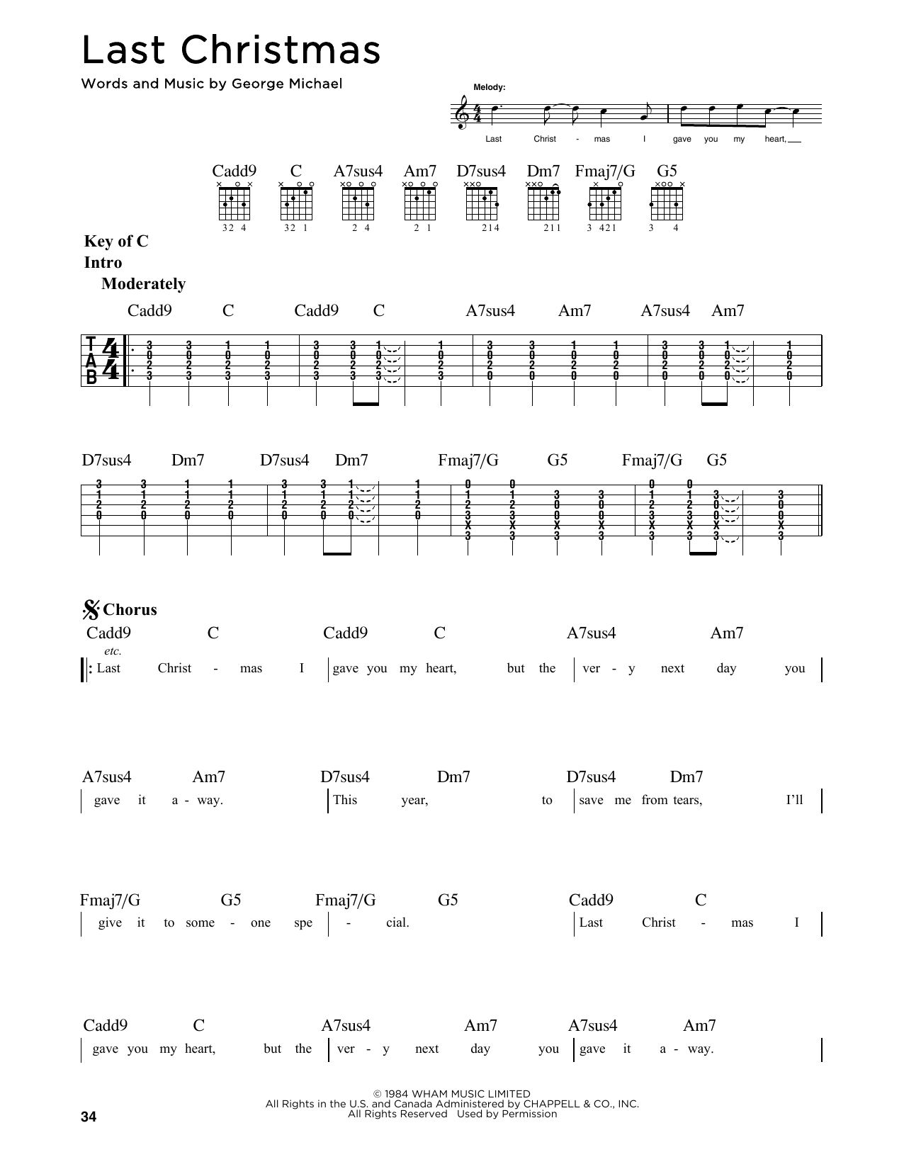 George Michael Last Christmas Sheet Music Notes Chords