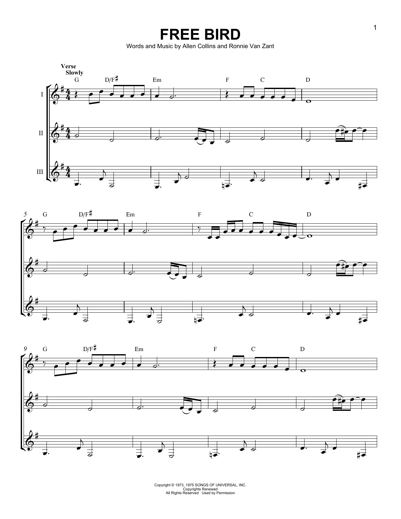 Lynyrd Skynyrd Free Bird Sheet Music Notes Chords Printable
