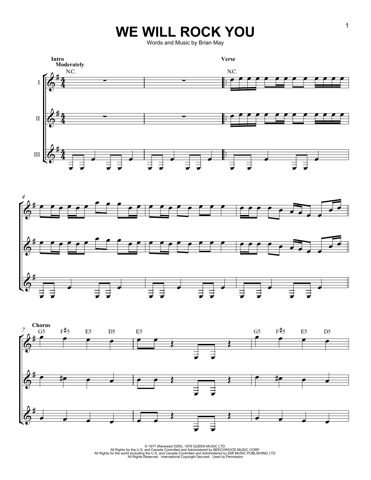 Queen We Will Rock You Sheet Music Notes Chords Printable Rock