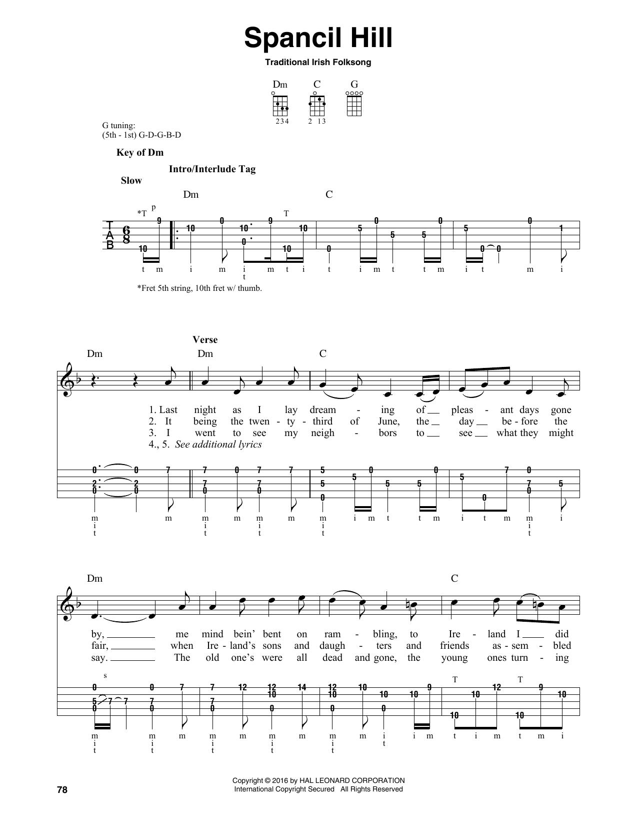 Traditional Irish Folk Song 'Spancil Hill' Sheet Music Notes, Chords    Download Printable Banjo - SKU: 165794
