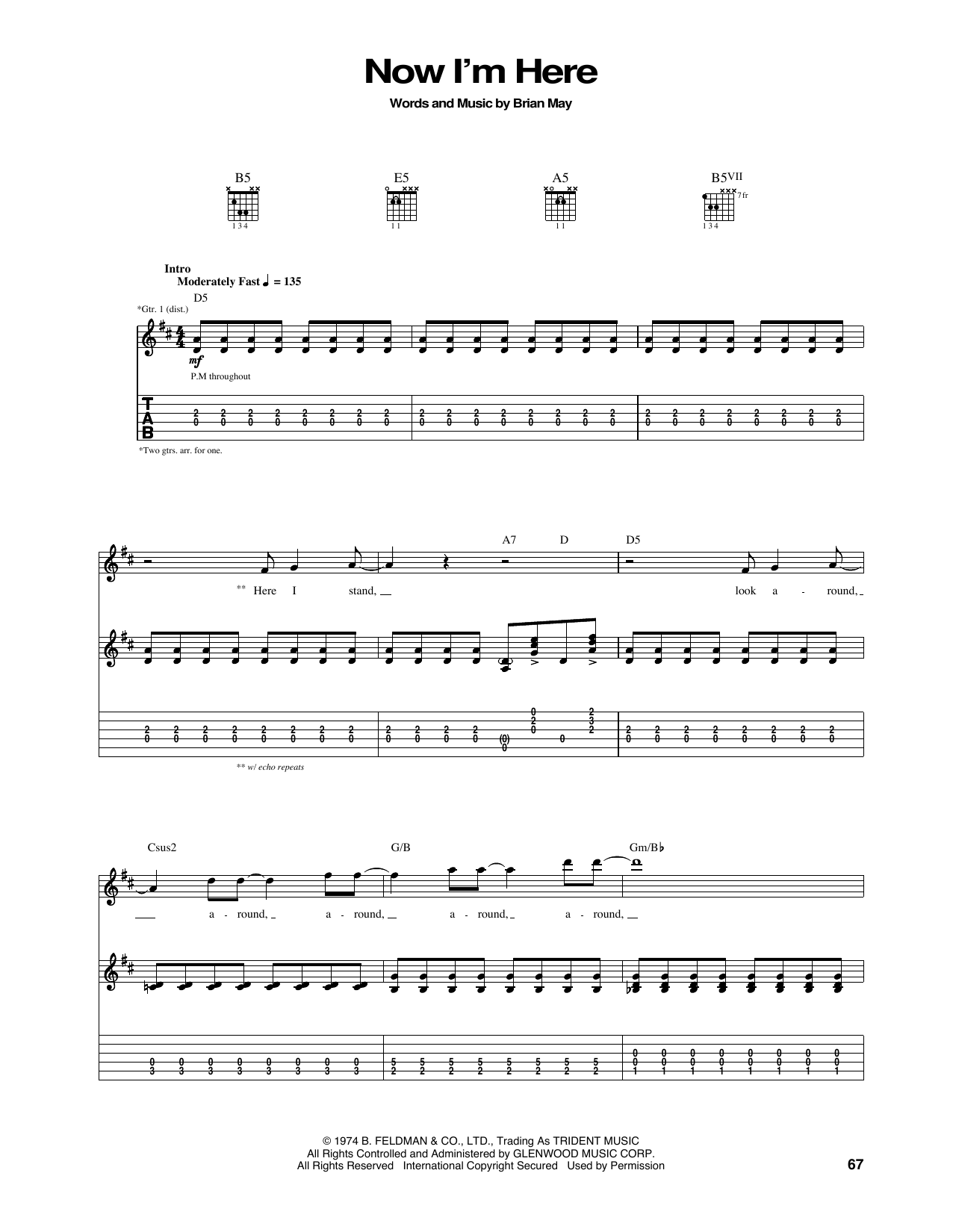 Queen Now Im Here Sheet Music Notes Chords Printable Rock