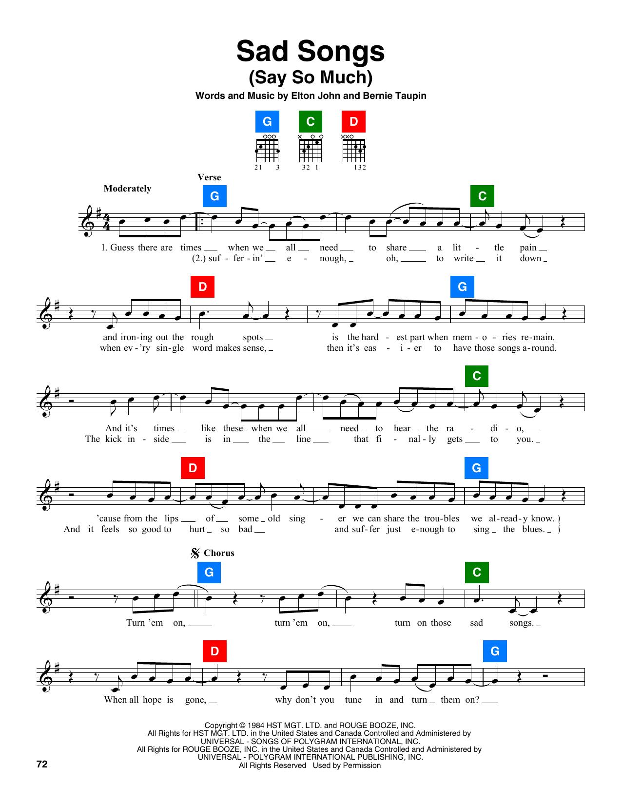 Elton John Sad Songs Say So Much Sheet Music Notes Chords