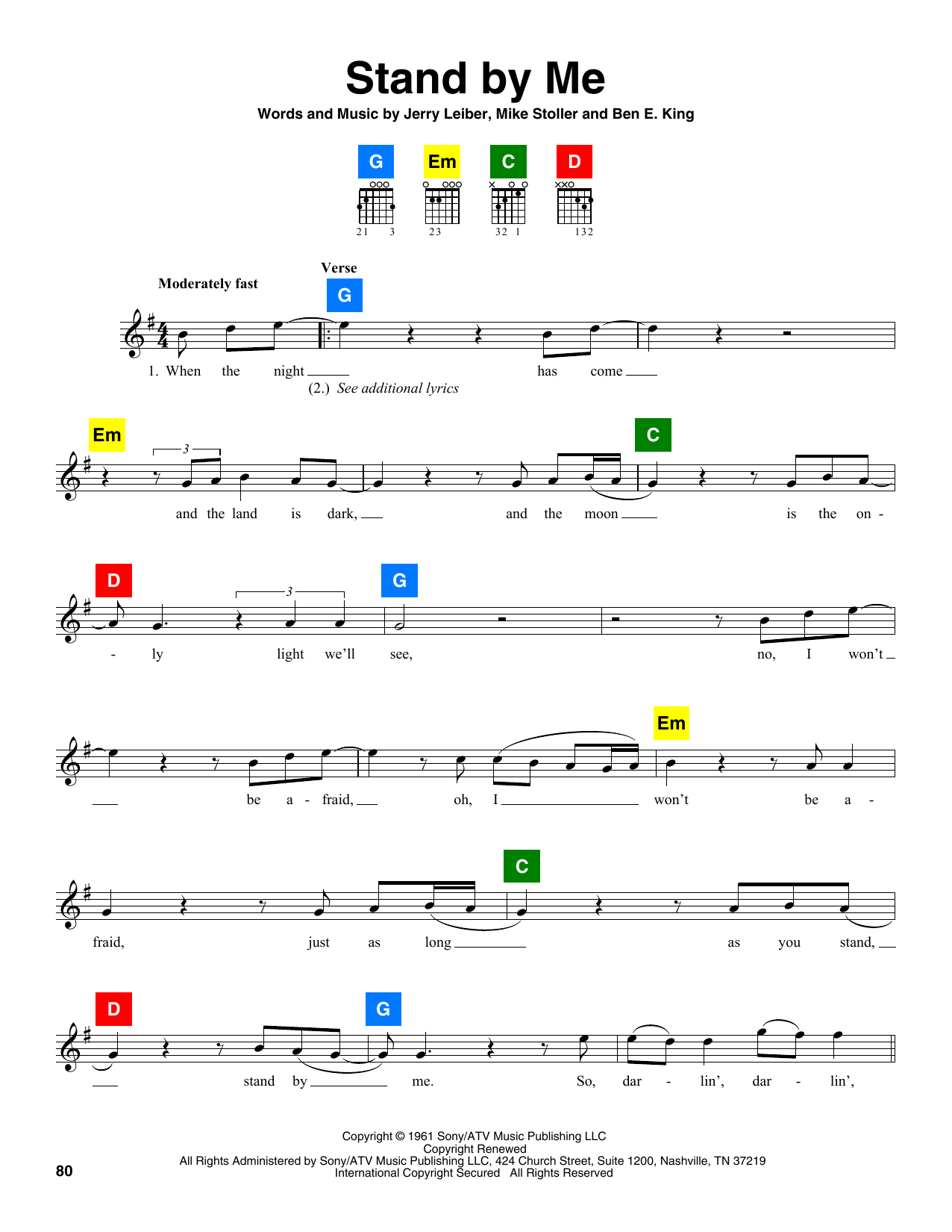 Ben E King Stand By Me Sheet Music Notes Chords Printable Folk
