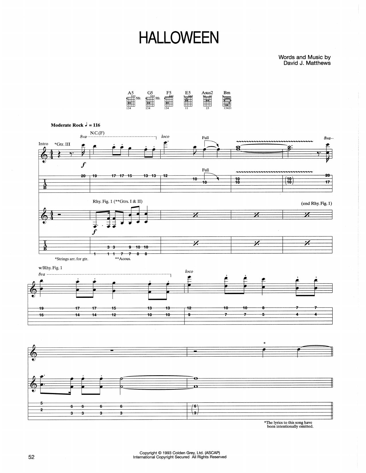 dave matthews band halloween guitar tab sheet music piano notes chords