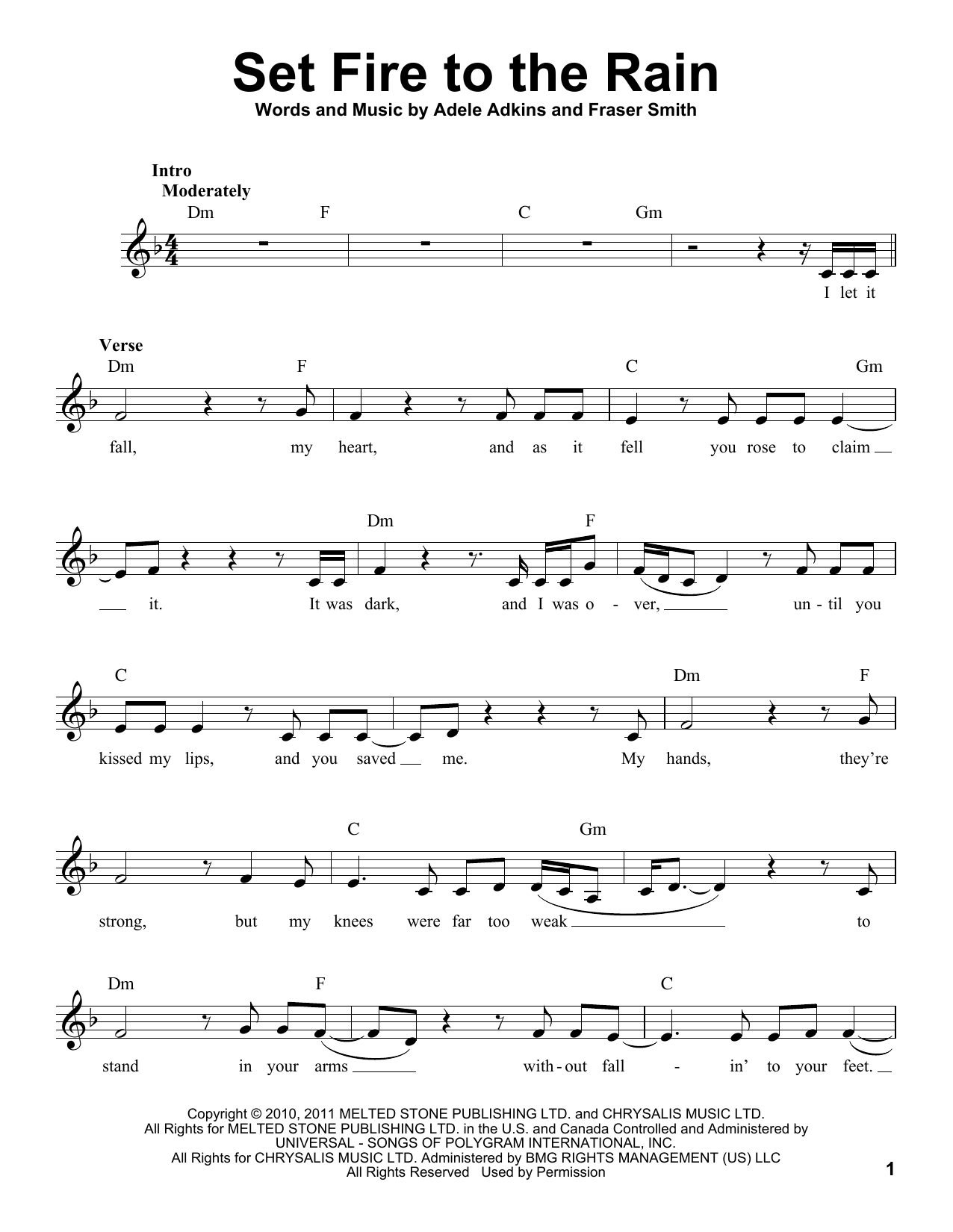 Adele 'Set Fire To The Rain' Sheet Music Notes, Chords | Download Printable  Voice - SKU: 166643